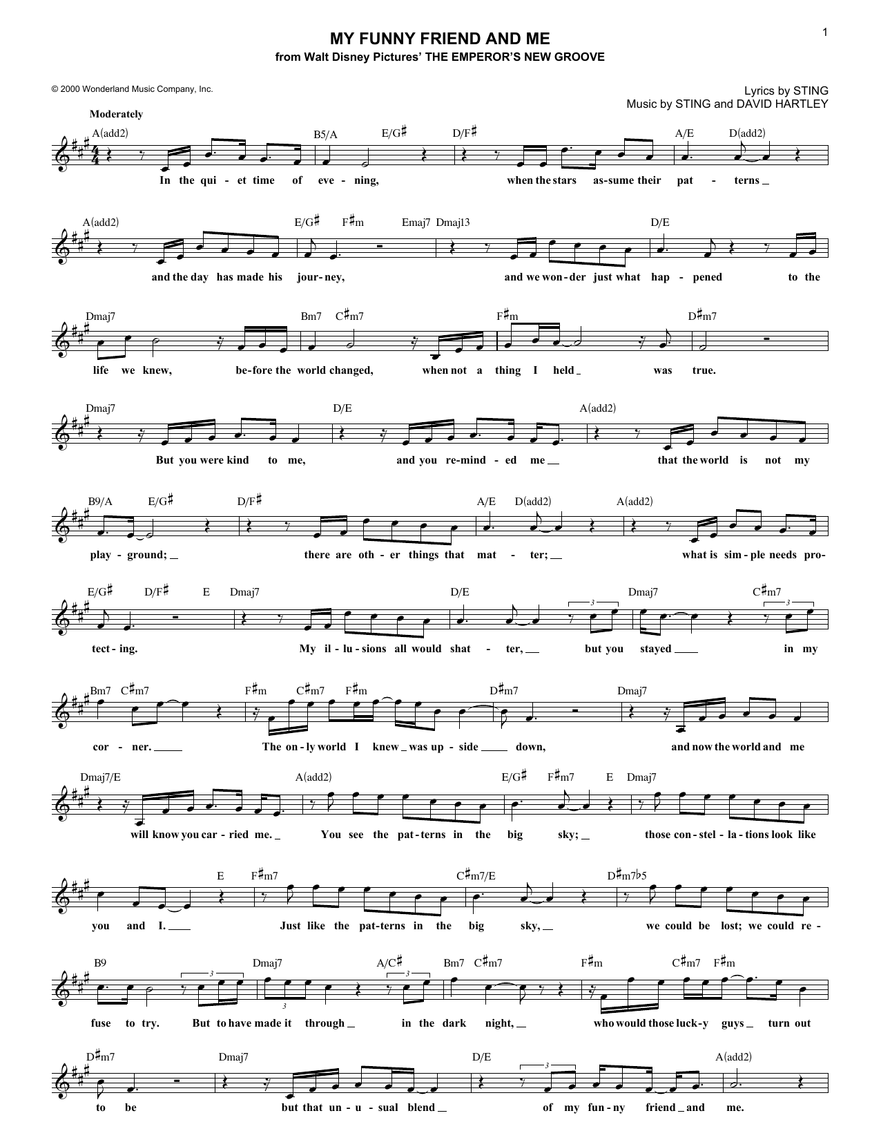 My Funny Friend And Me (Lead Sheet / Fake Book)