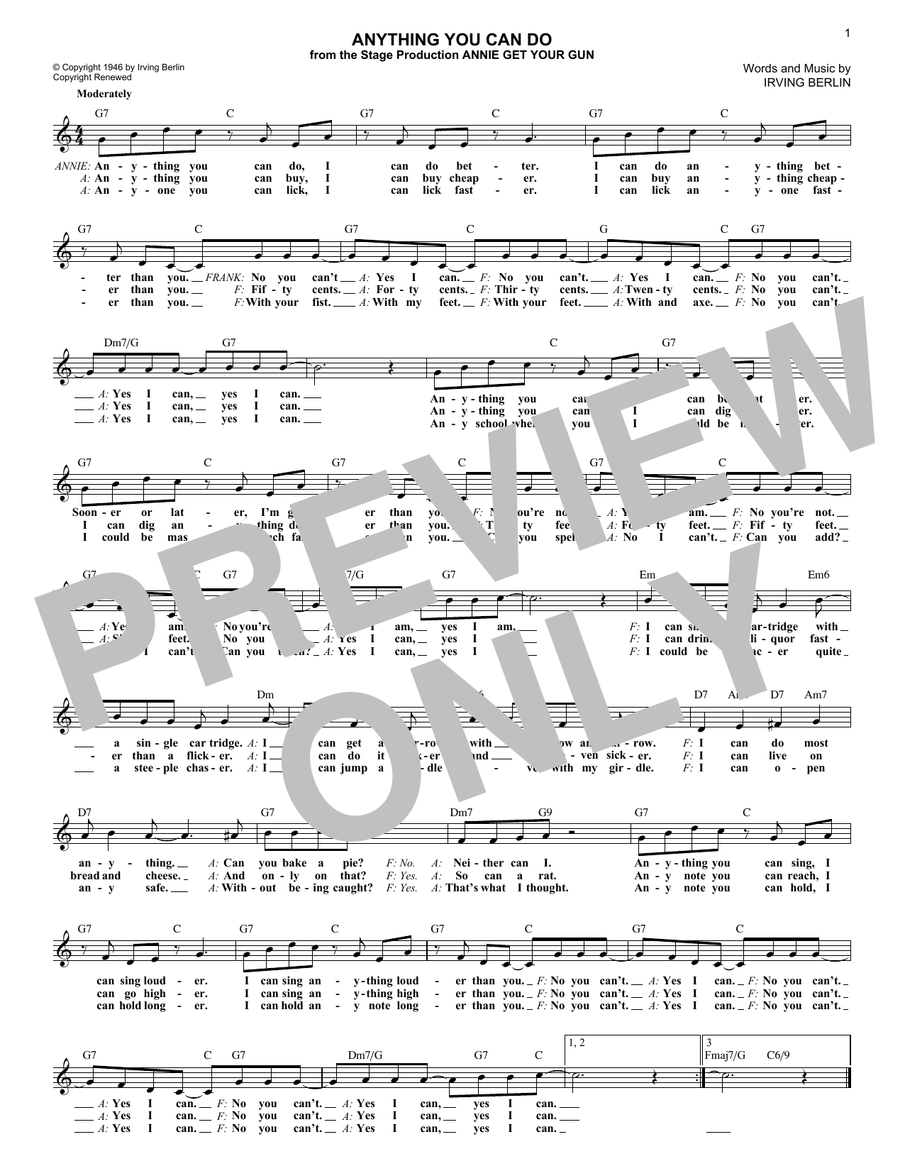 Anything You Can Do (from Annie Get Your Gun) (Lead Sheet / Fake Book)