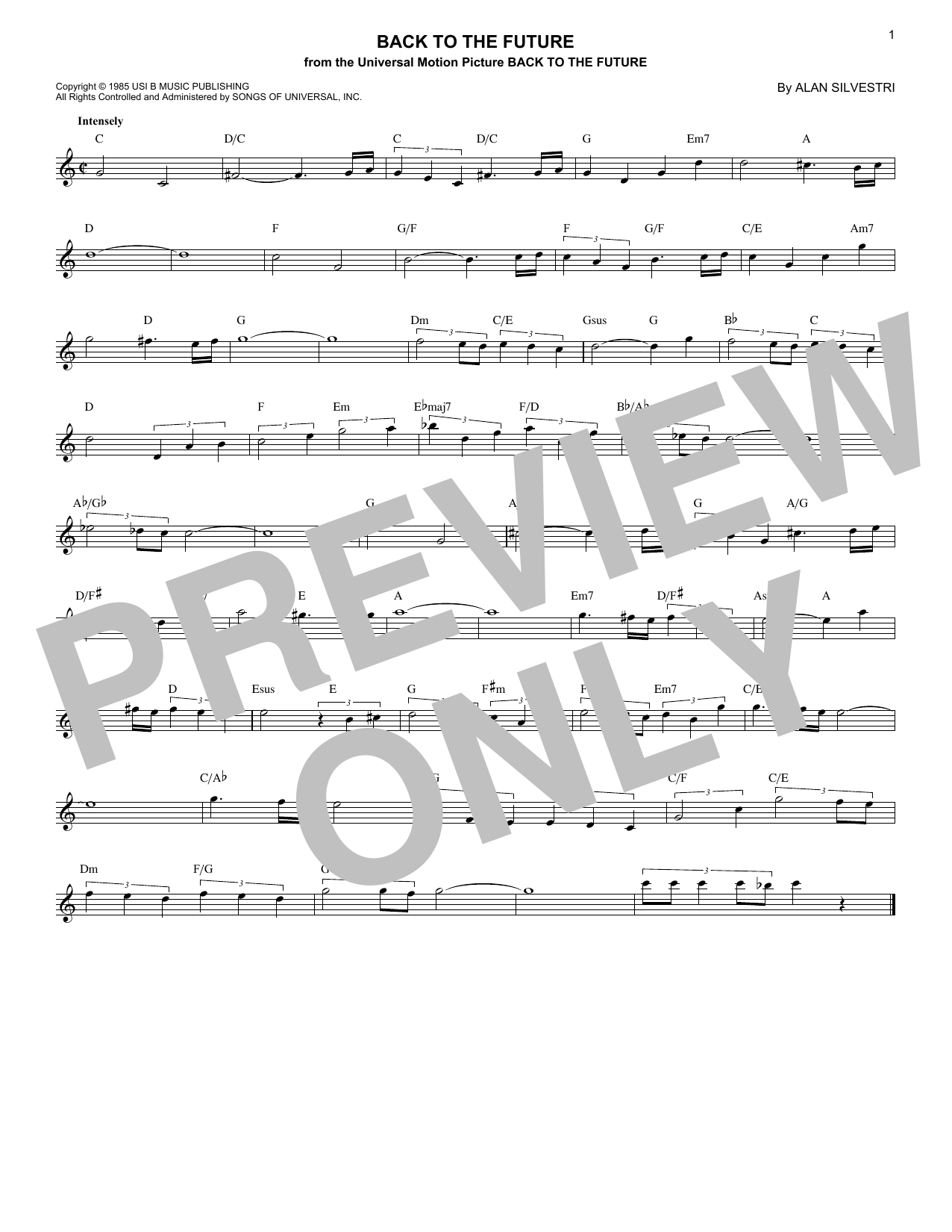 Back To The Future (Theme) (Lead Sheet / Fake Book)