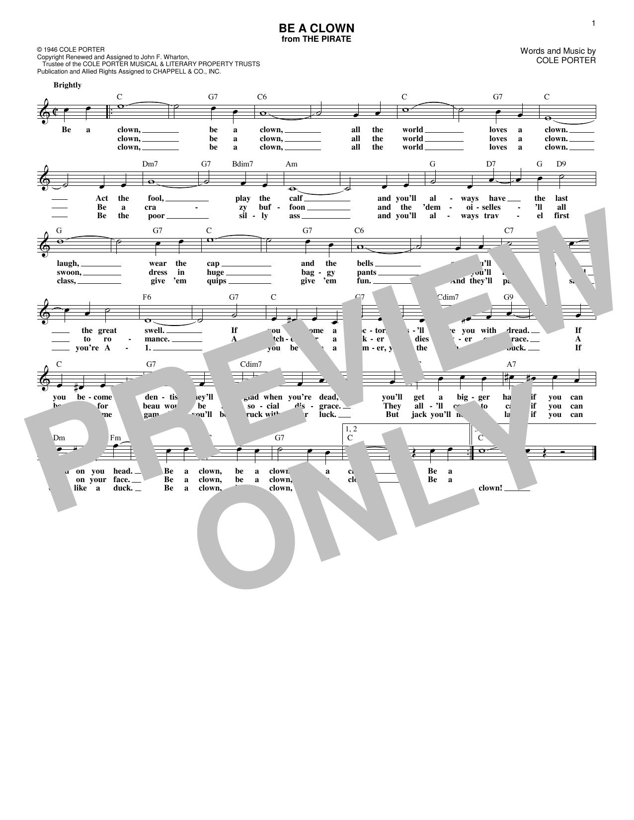 Be A Clown (Lead Sheet / Fake Book)