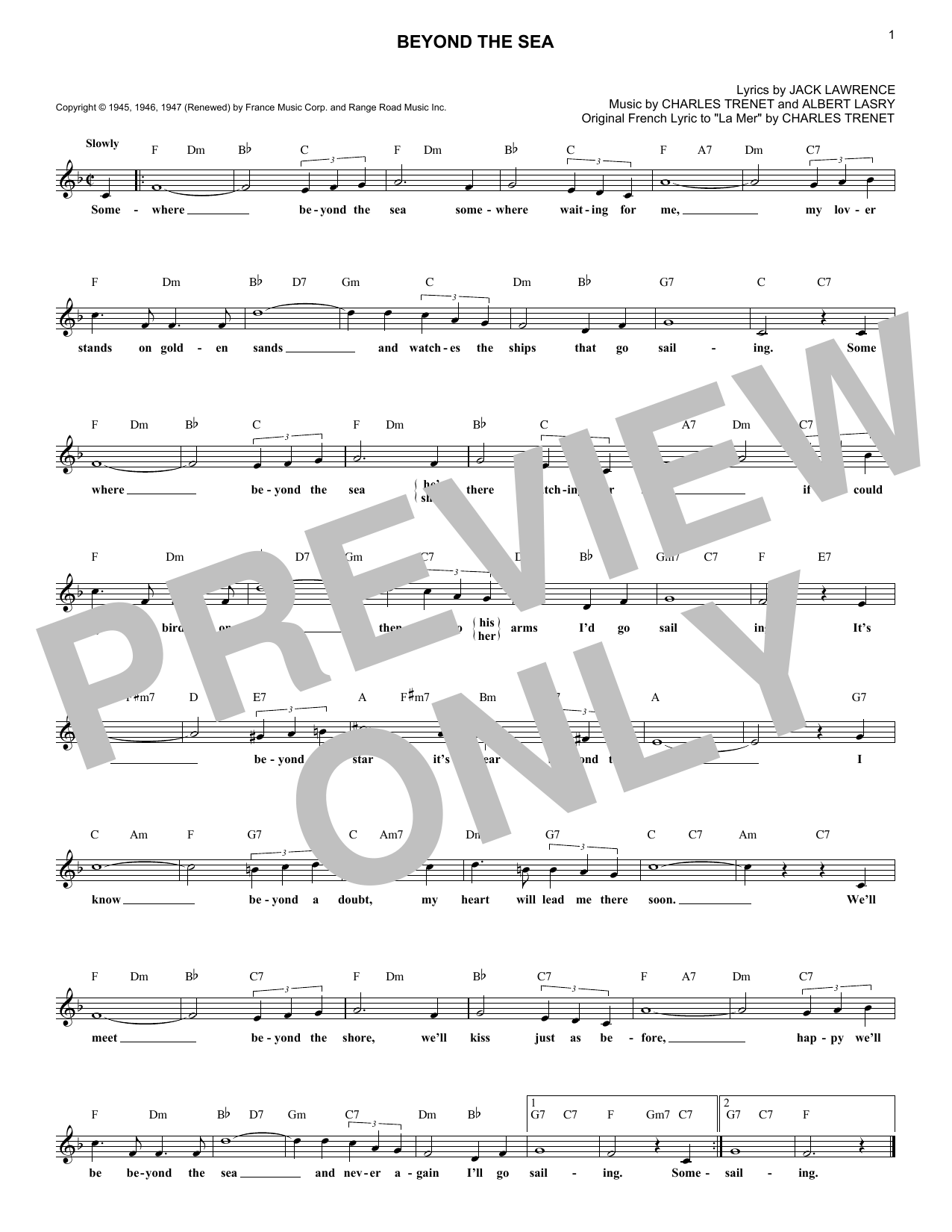 Beyond The Sea (Lead Sheet / Fake Book)