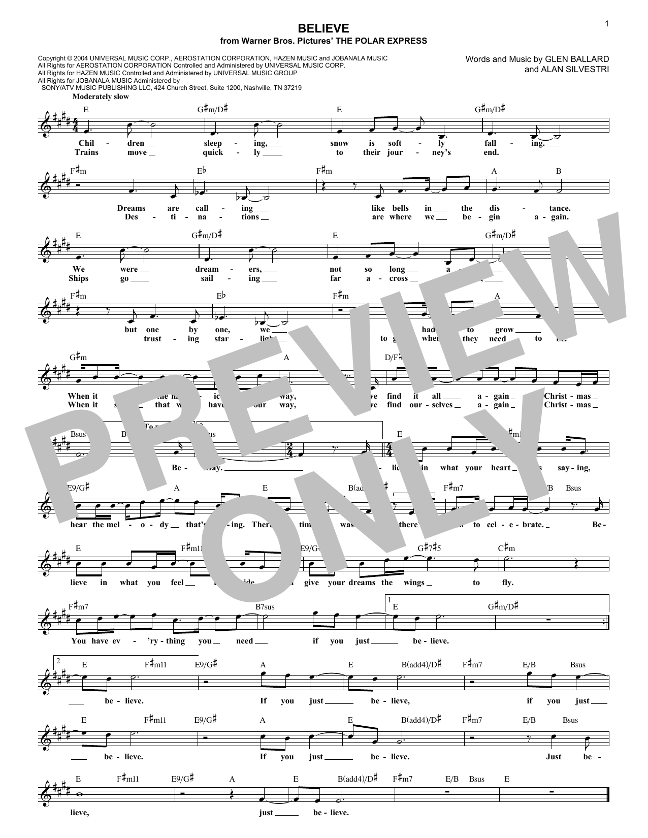 Believe (from The Polar Express) (Lead Sheet / Fake Book)