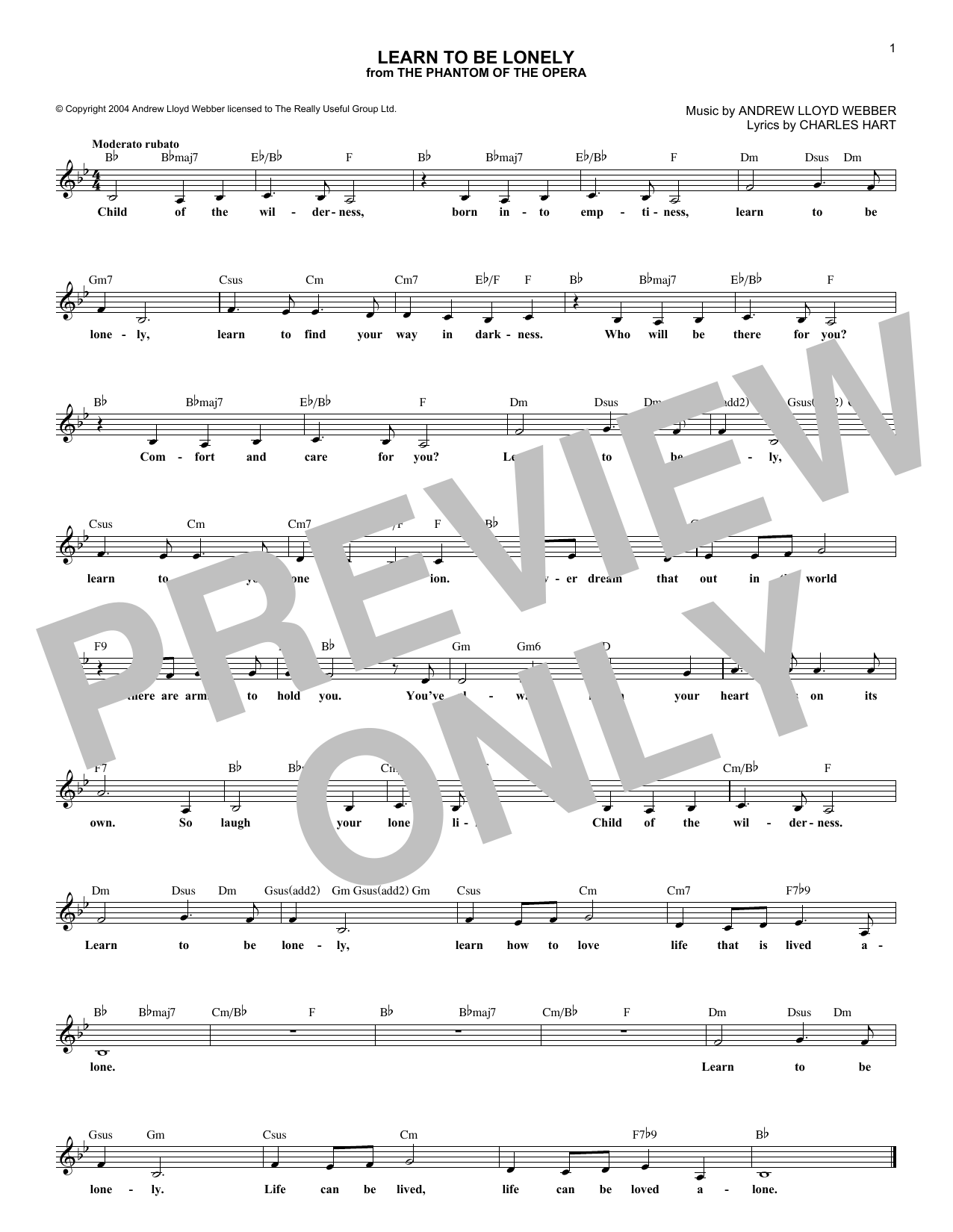 Learn To Be Lonely (Lead Sheet / Fake Book)