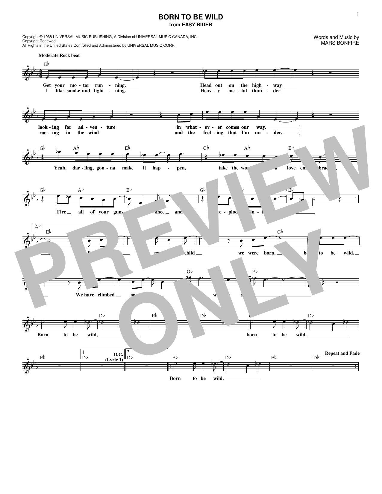 Born To Be Wild (Lead Sheet / Fake Book)