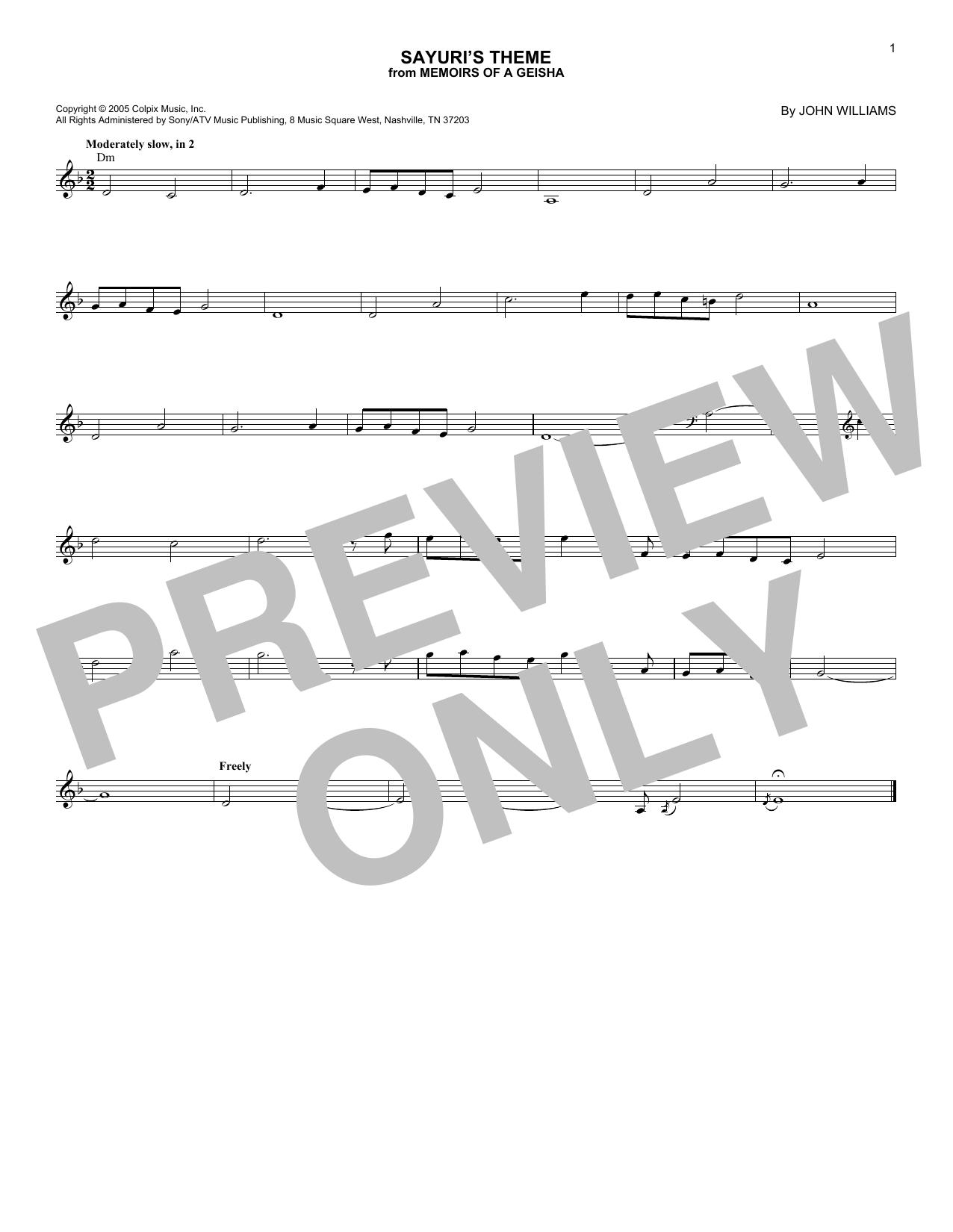 Sayuri's Theme (Lead Sheet / Fake Book)