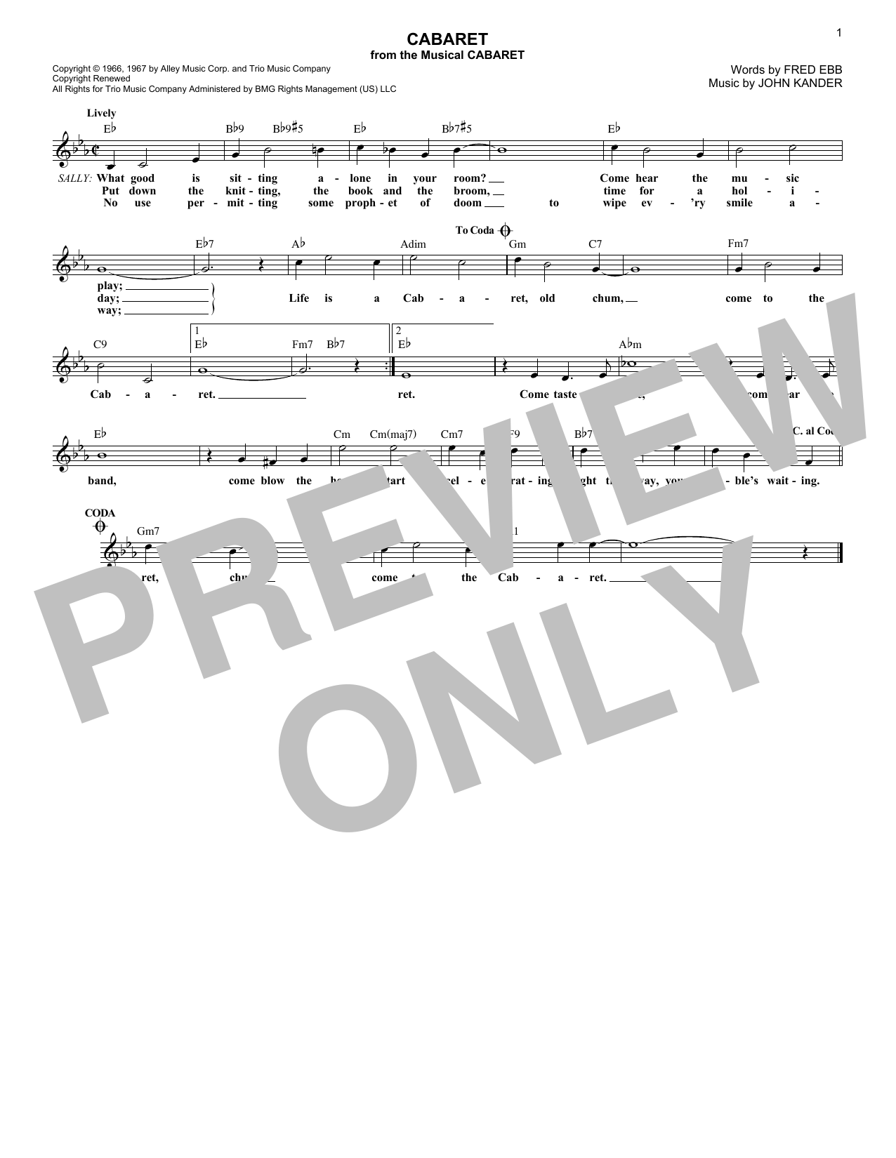 Cabaret (Melody Line, Lyrics & Chords)