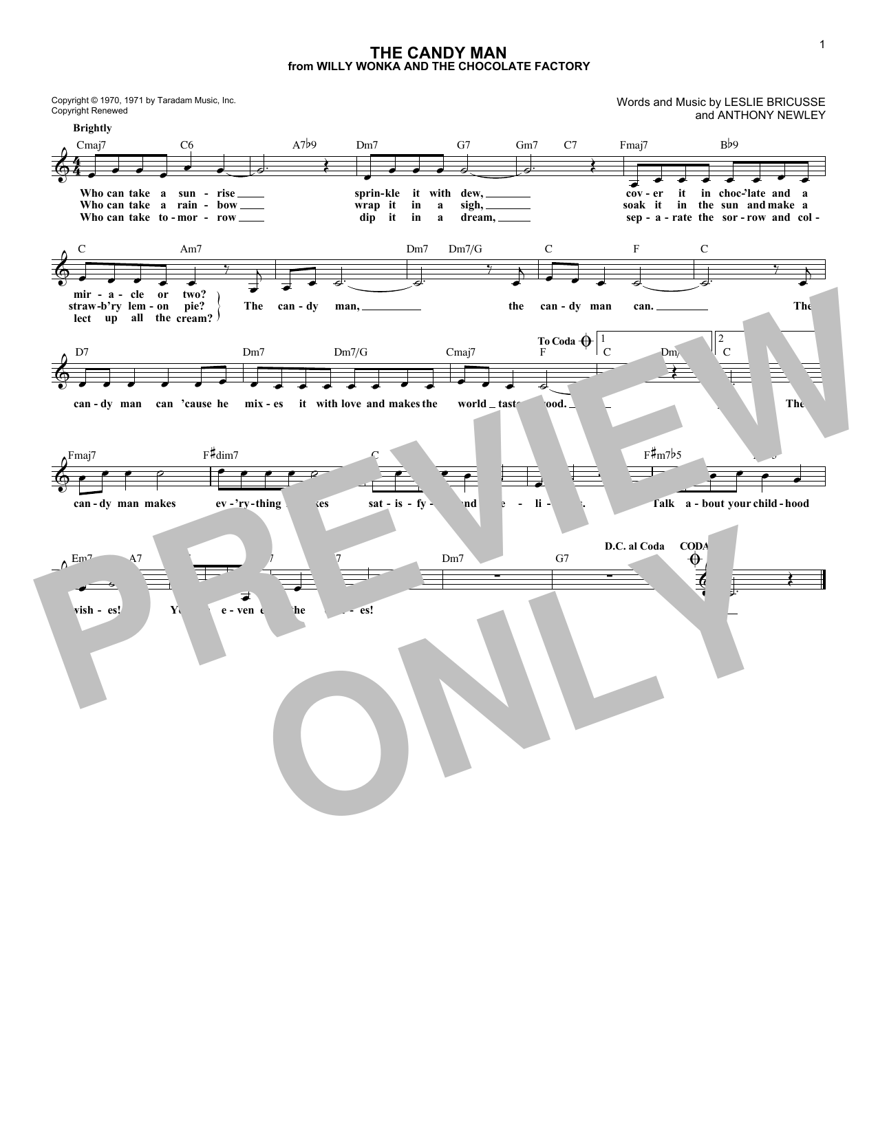 The Candy Man (Lead Sheet / Fake Book)