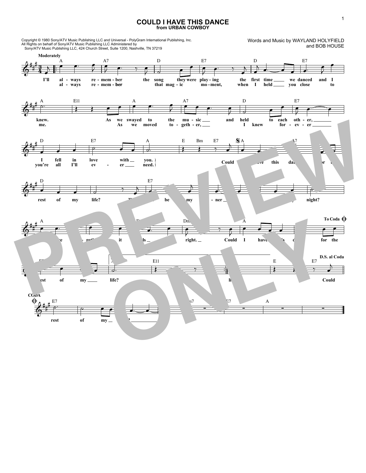 Could I Have This Dance (Lead Sheet / Fake Book)