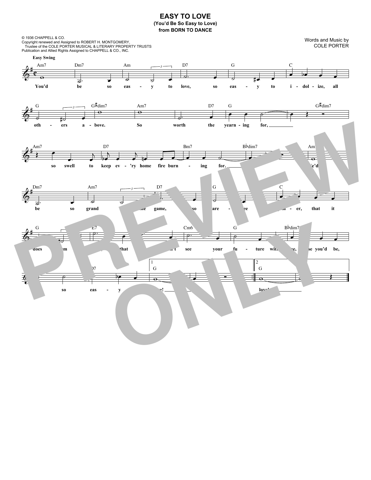 Easy To Love (You'd Be So Easy To Love) (Lead Sheet / Fake Book)