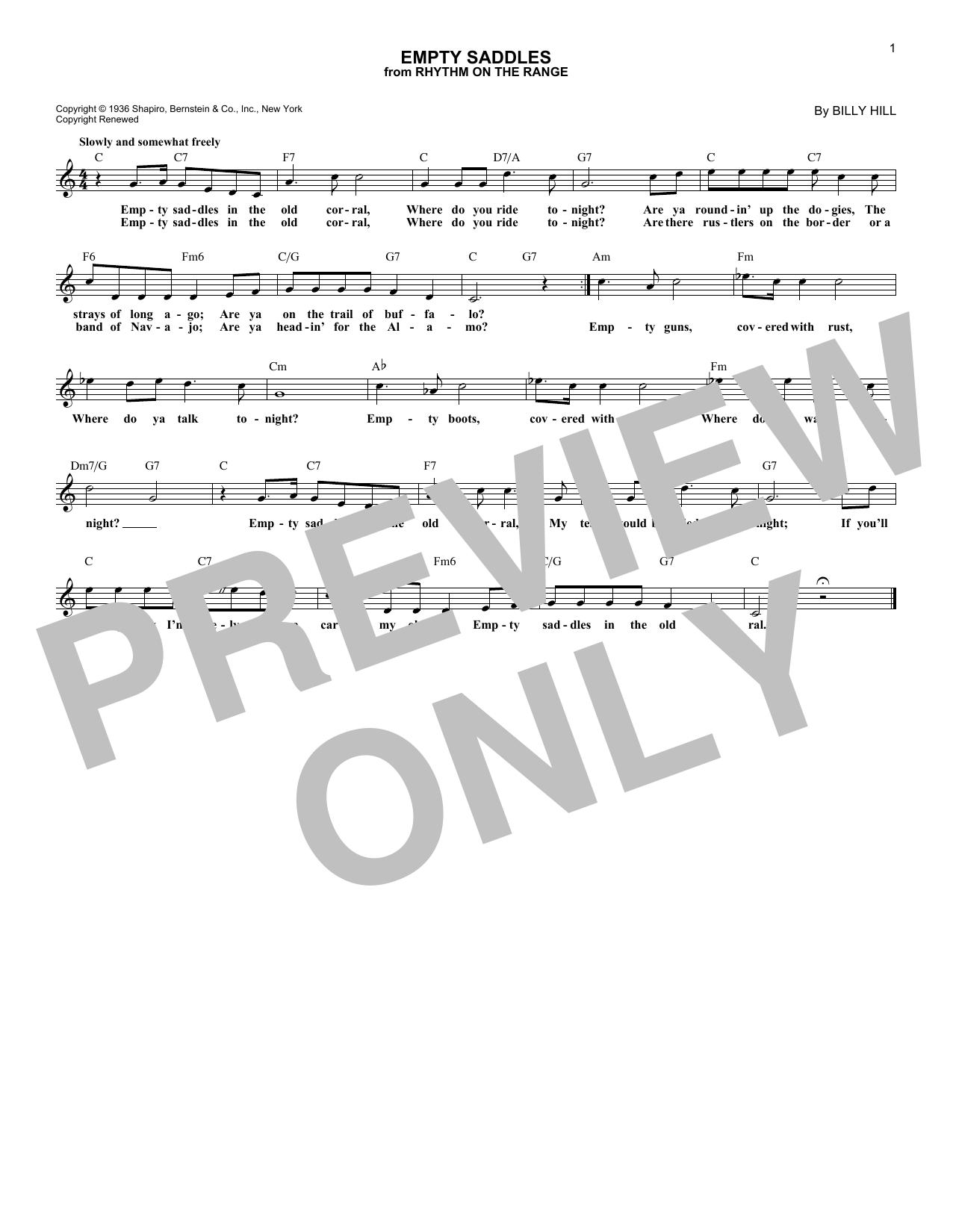 Empty Saddles Sheet Music