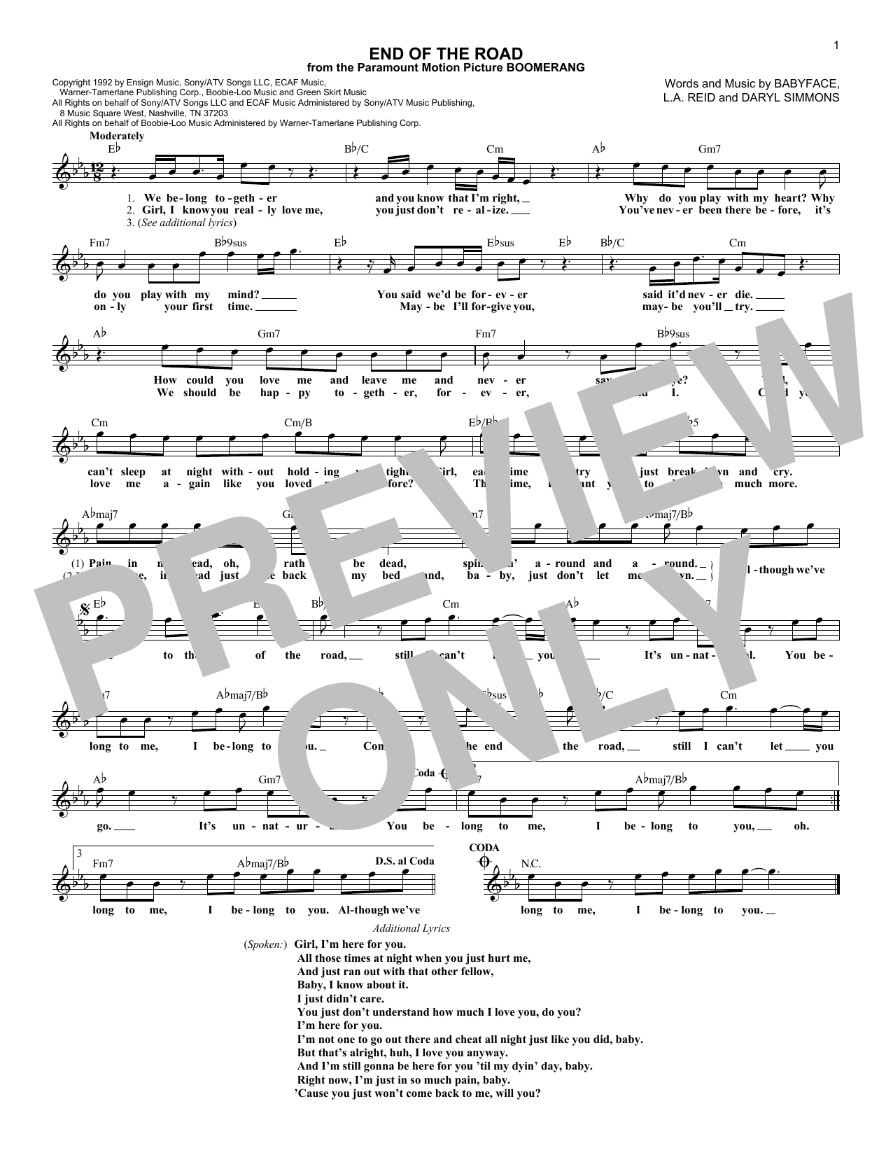 End Of The Road (Lead Sheet / Fake Book)
