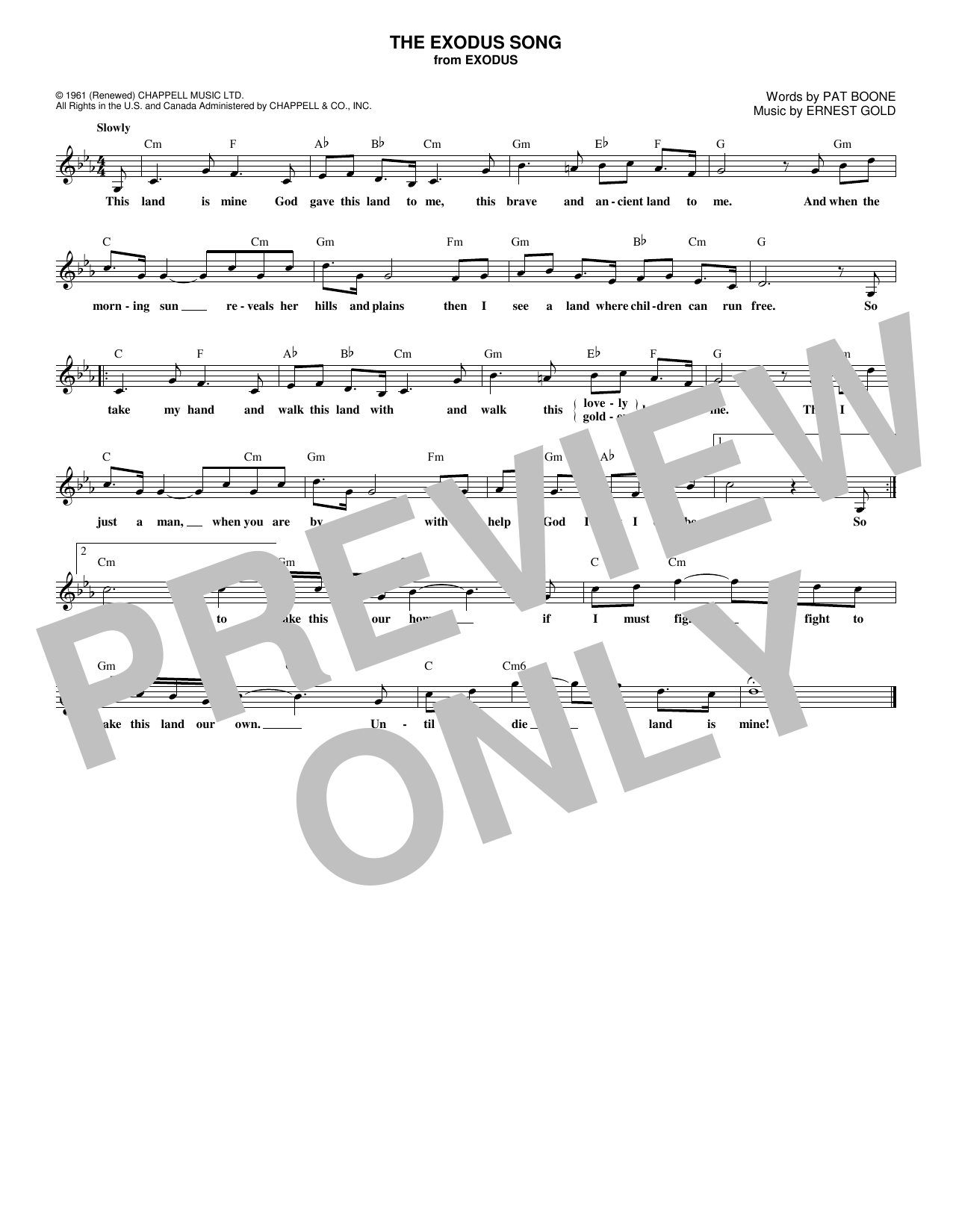 The Exodus Song (Lead Sheet / Fake Book)