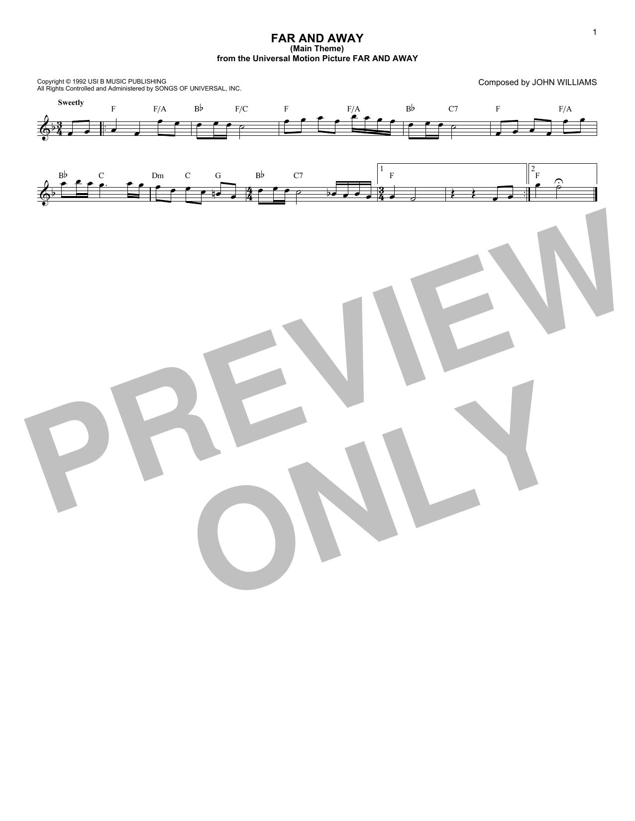 Far And Away (Main Theme) (Lead Sheet / Fake Book)