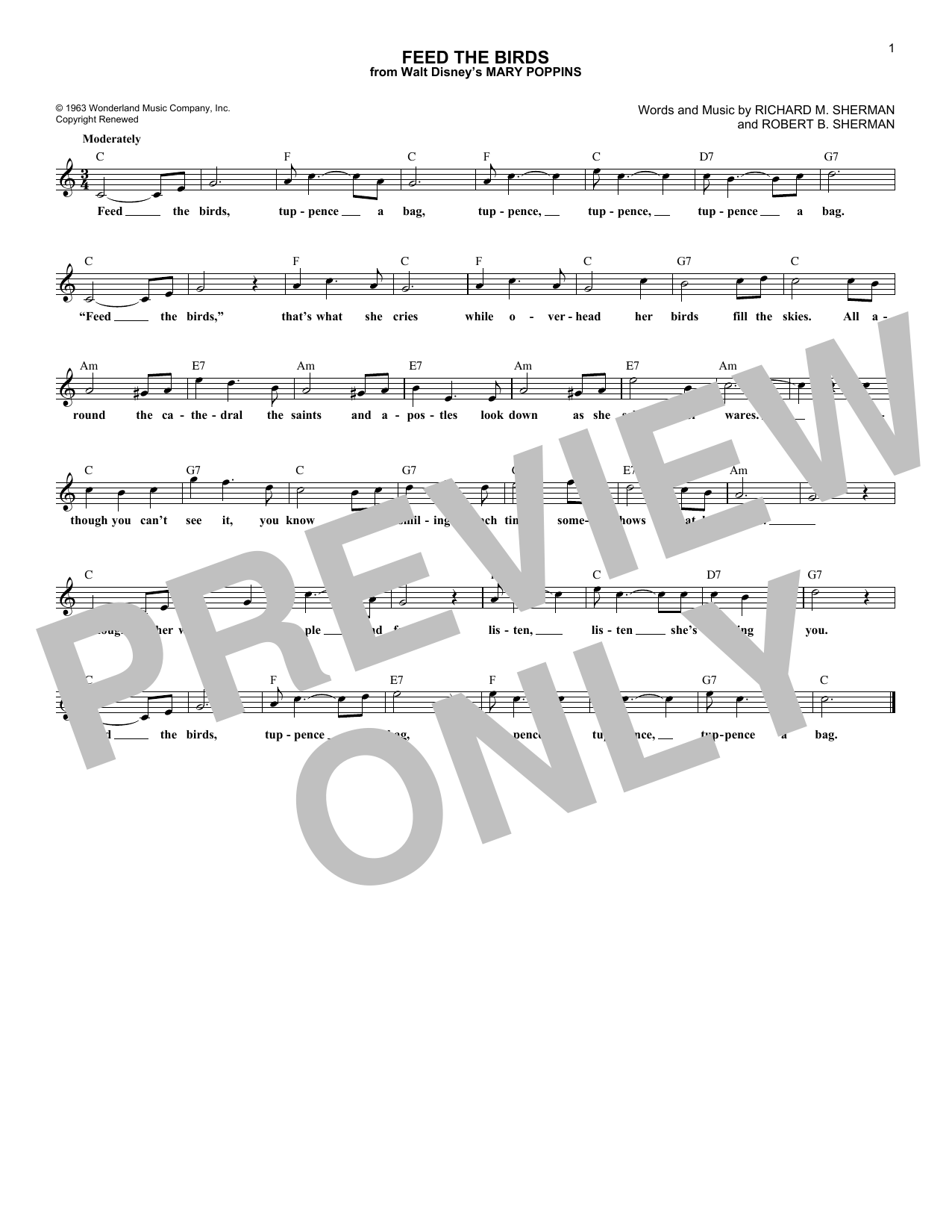 Feed The Birds (from Mary Poppins) (Lead Sheet / Fake Book)