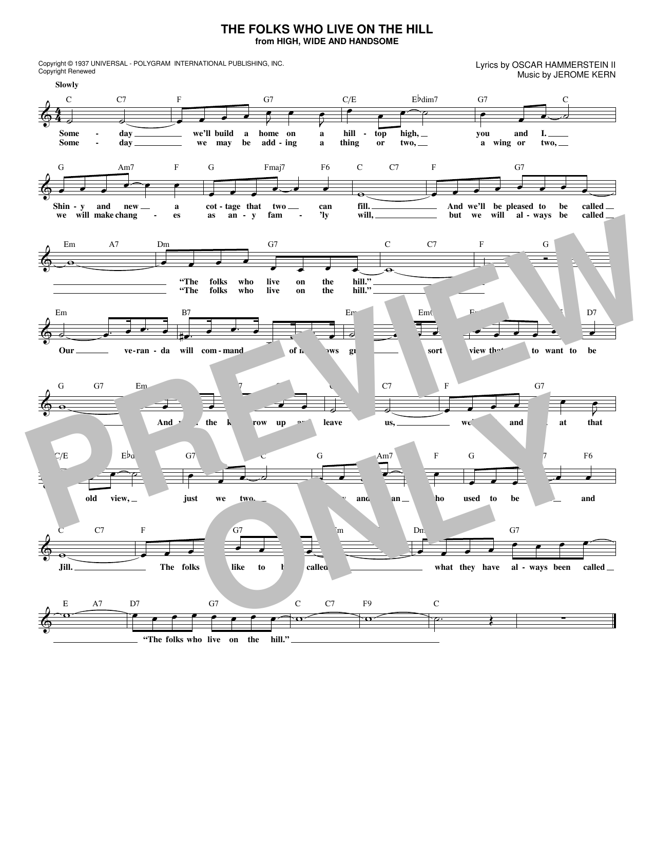 The Folks Who Live On The Hill (Lead Sheet / Fake Book)