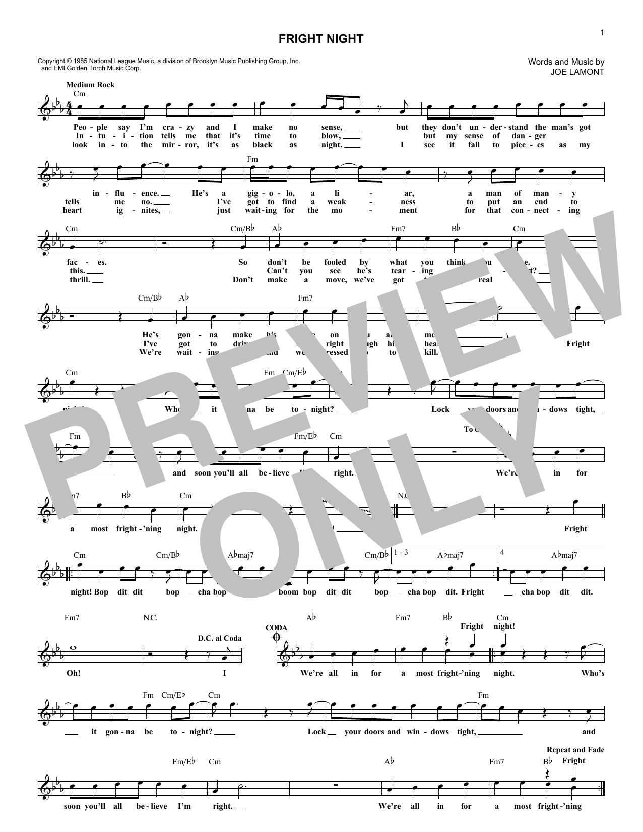 Fright Night (Lead Sheet / Fake Book)