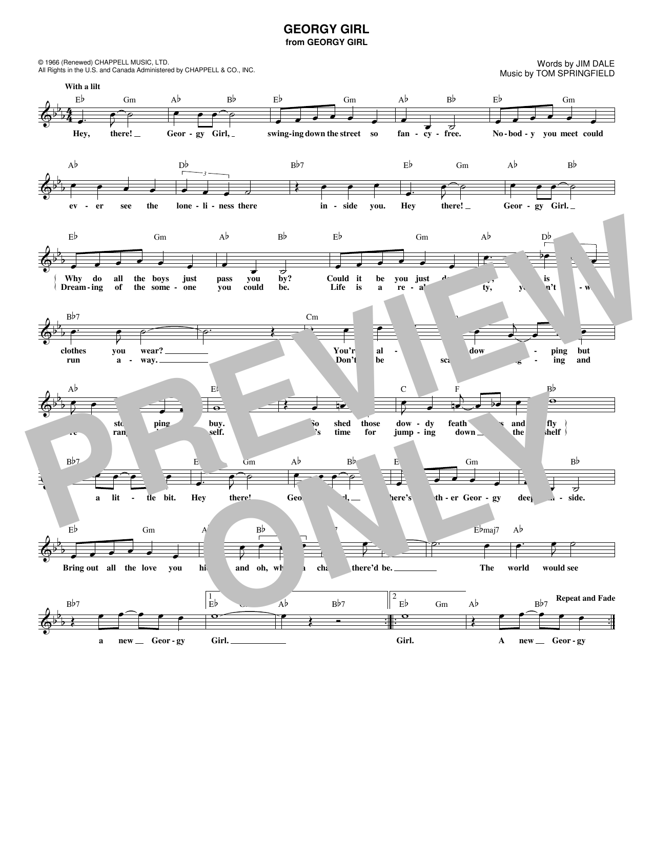 Georgy Girl (Lead Sheet / Fake Book)
