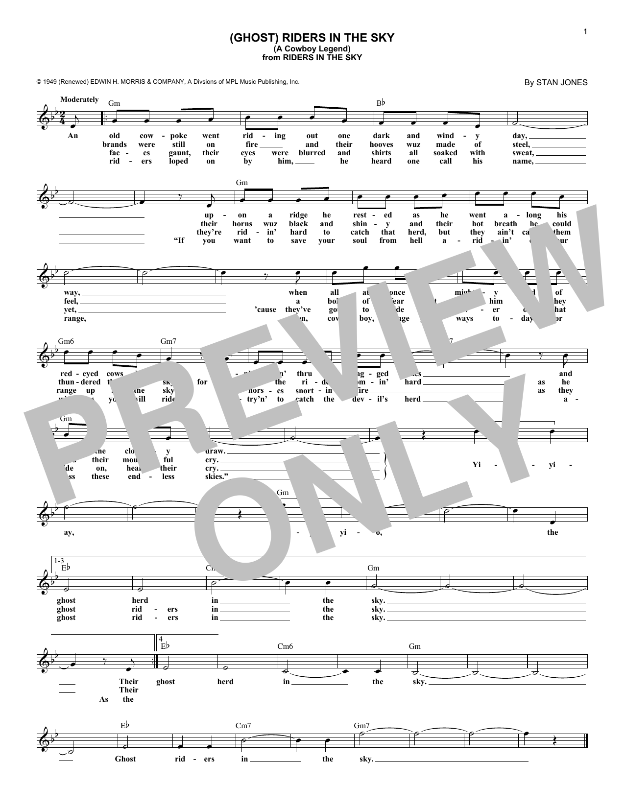(Ghost) Riders In The Sky (A Cowboy Legend) (Lead Sheet / Fake Book)