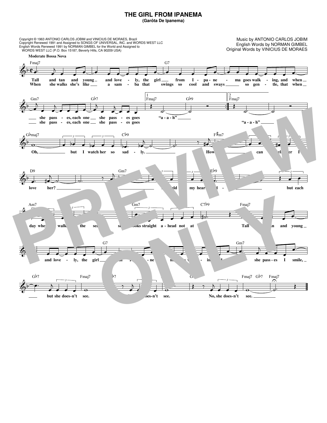 The Girl From Ipanema (Garota De Ipanema) (Lead Sheet / Fake Book)