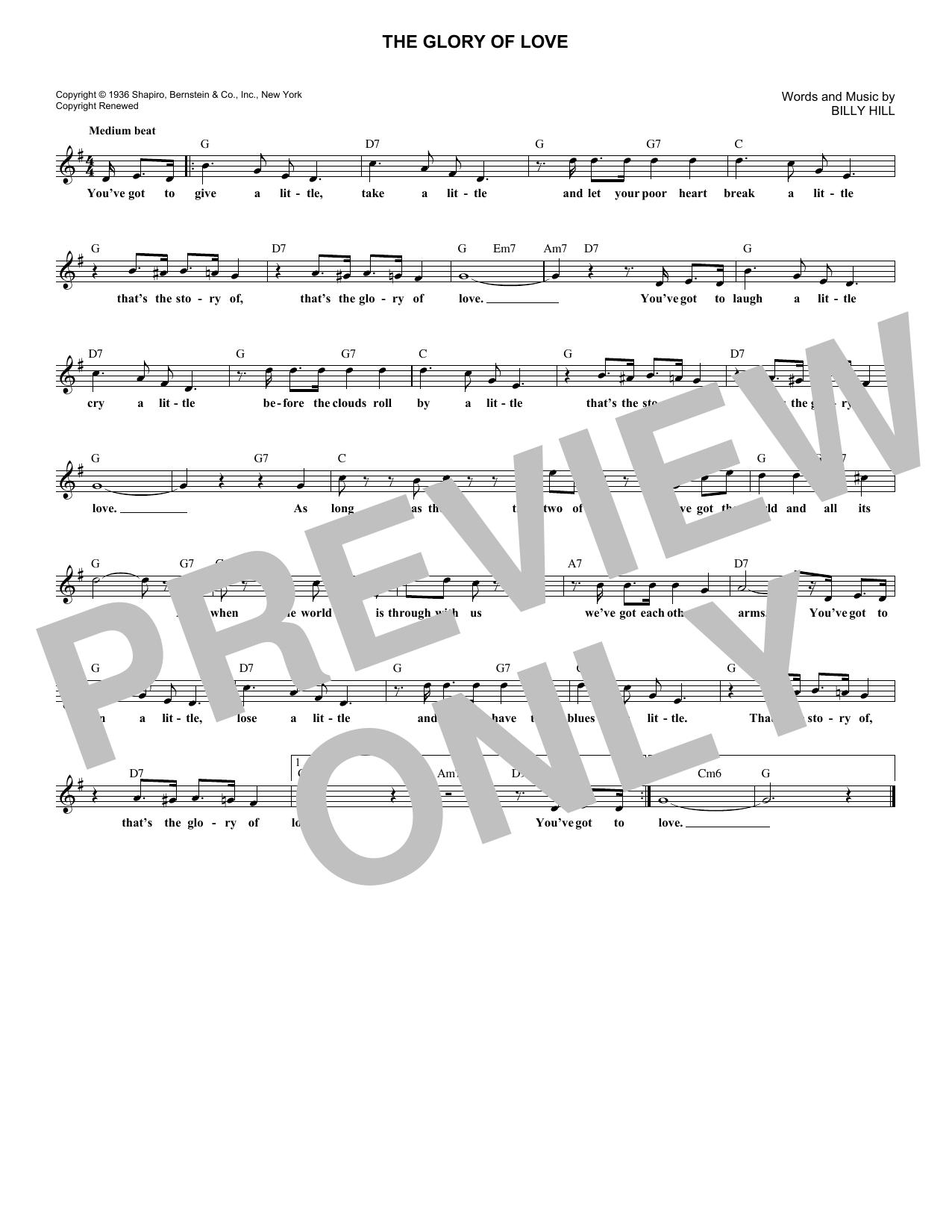 The Glory Of Love (Lead Sheet / Fake Book)