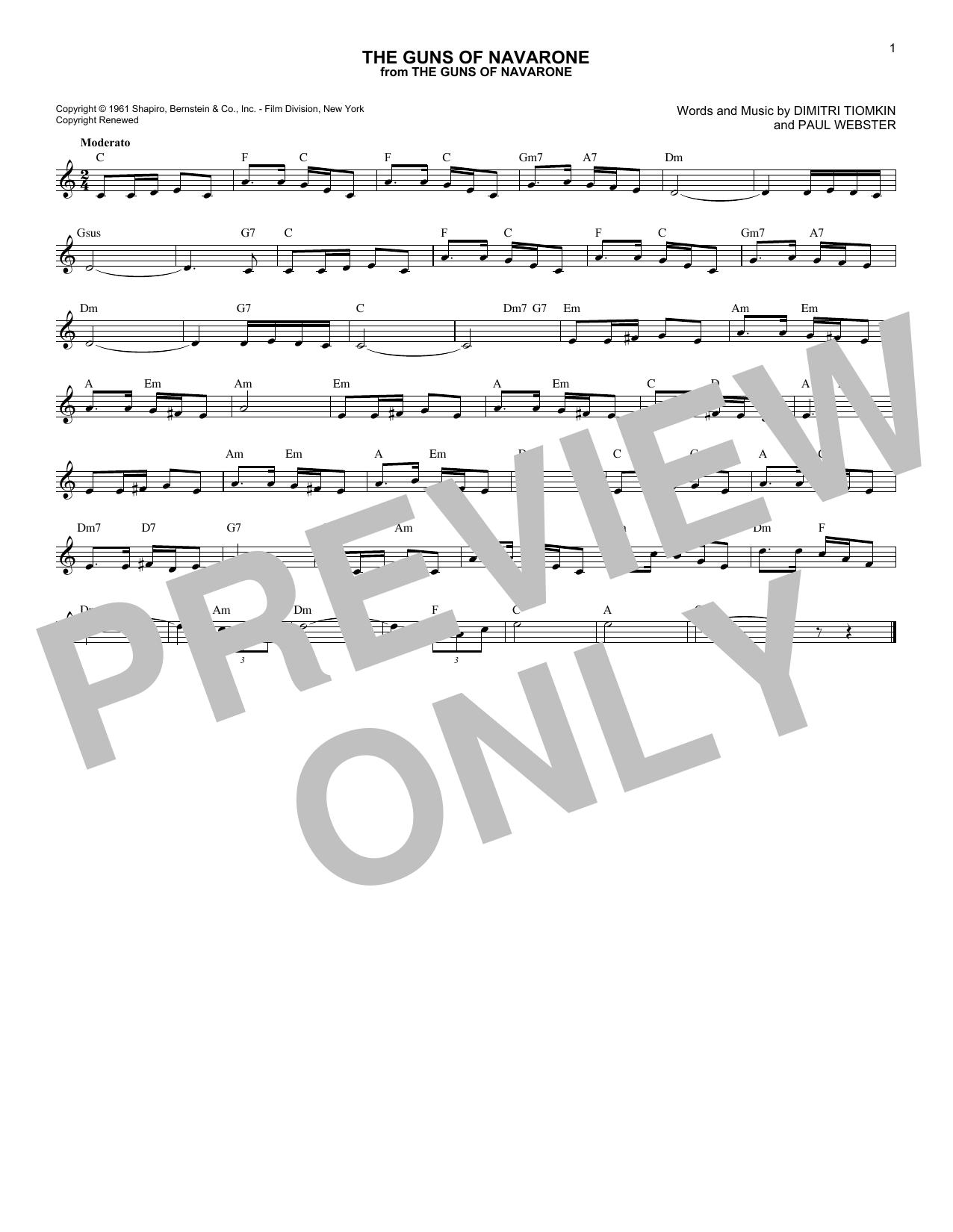The Guns Of Navarone (Lead Sheet / Fake Book)