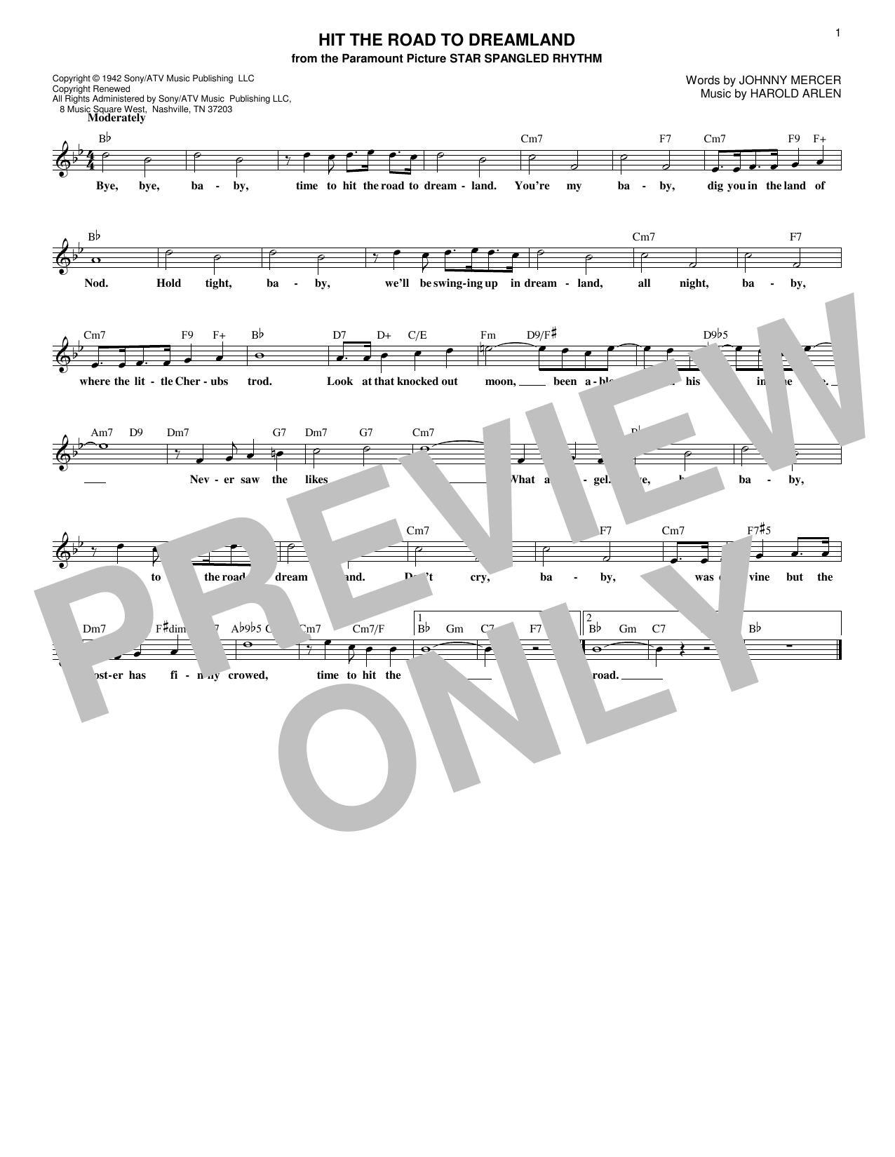 Hit The Road To Dreamland (Lead Sheet / Fake Book)
