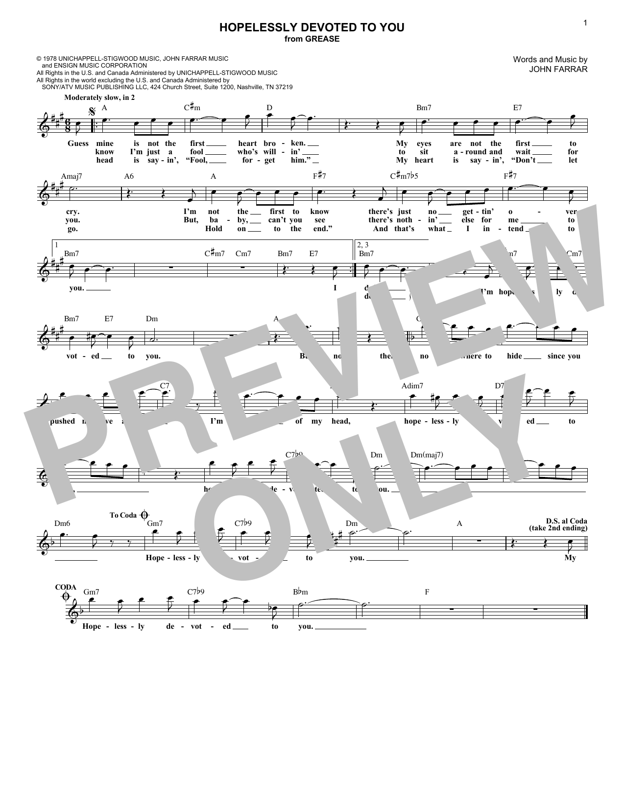Hopelessly Devoted To You (Lead Sheet / Fake Book)