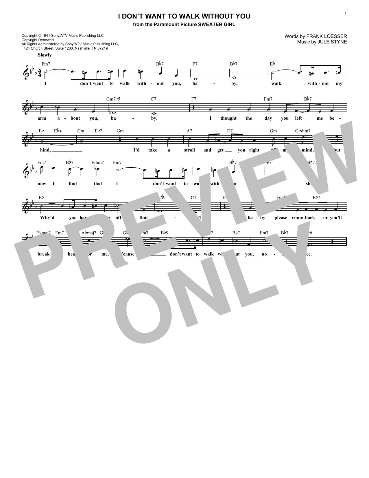 I Don't Want To Walk Without You (Lead Sheet / Fake Book)