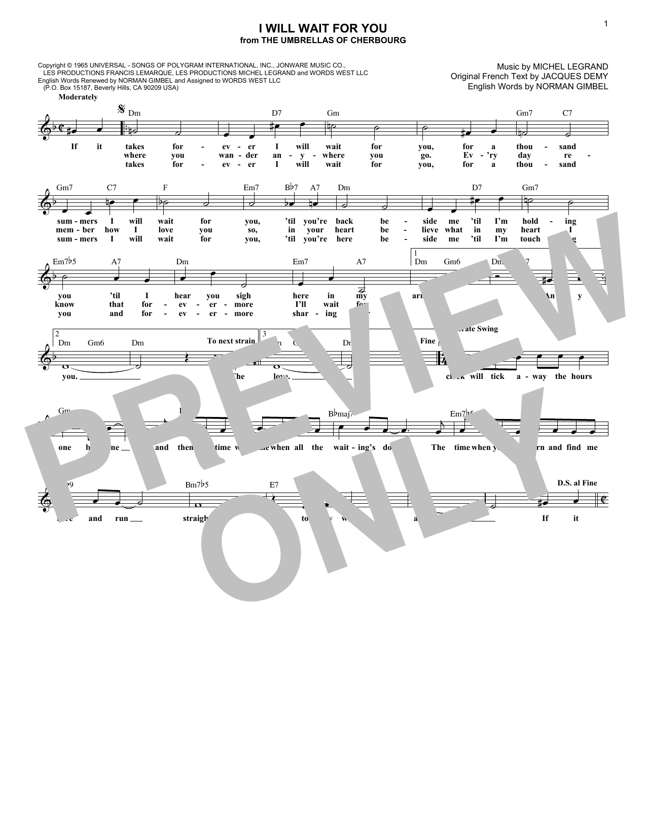 I Will Wait For You (Lead Sheet / Fake Book)