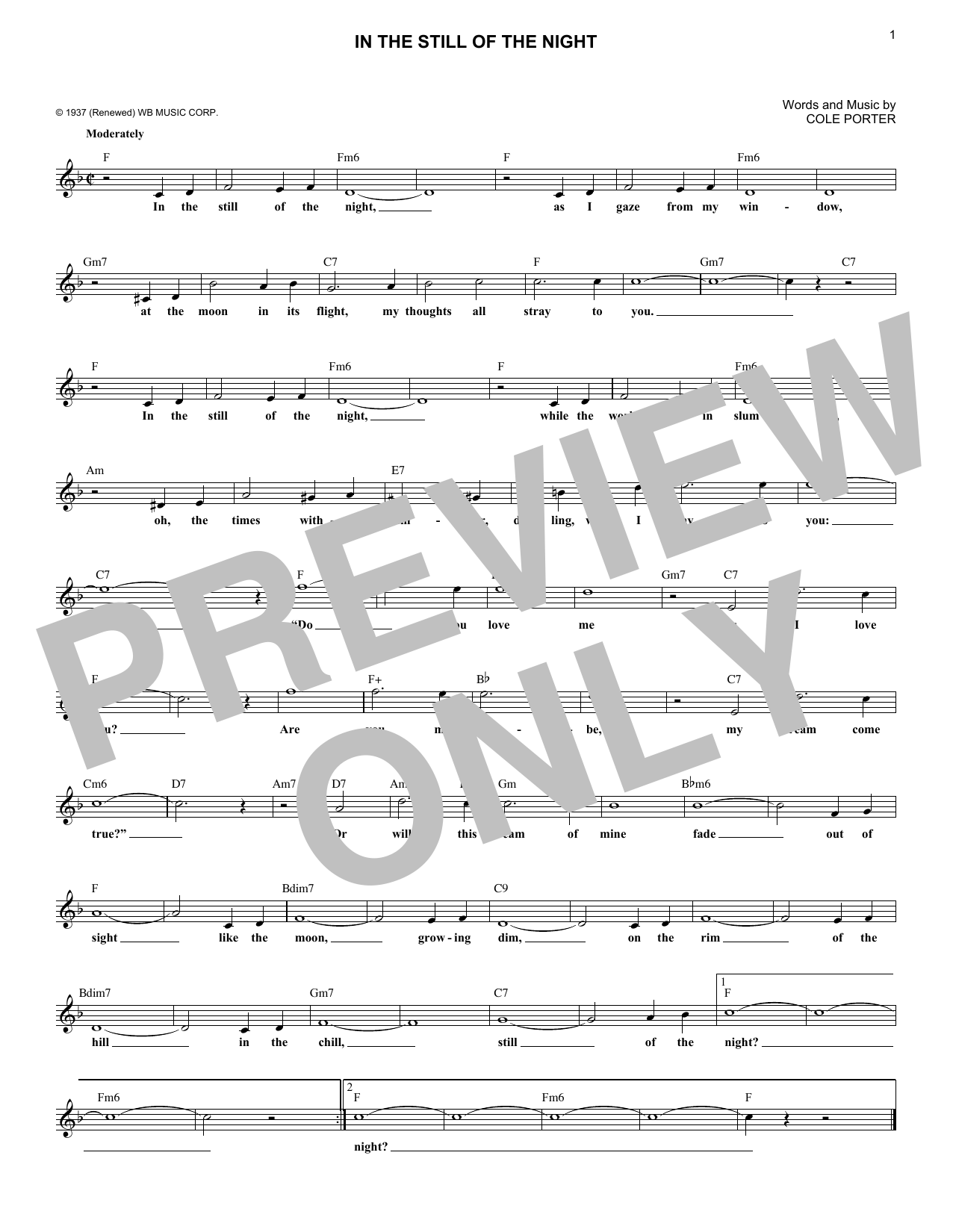 In The Still Of The Night (Lead Sheet / Fake Book)