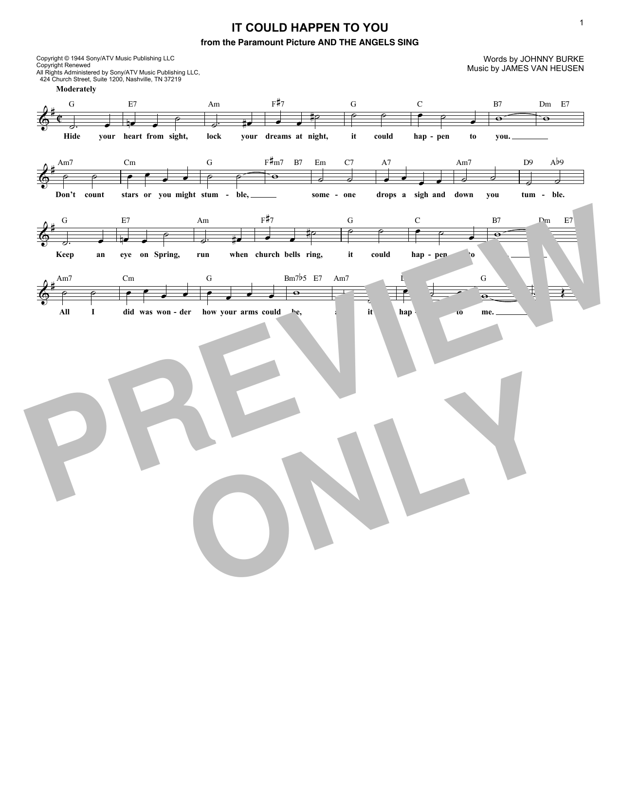 It Could Happen To You (Lead Sheet / Fake Book)