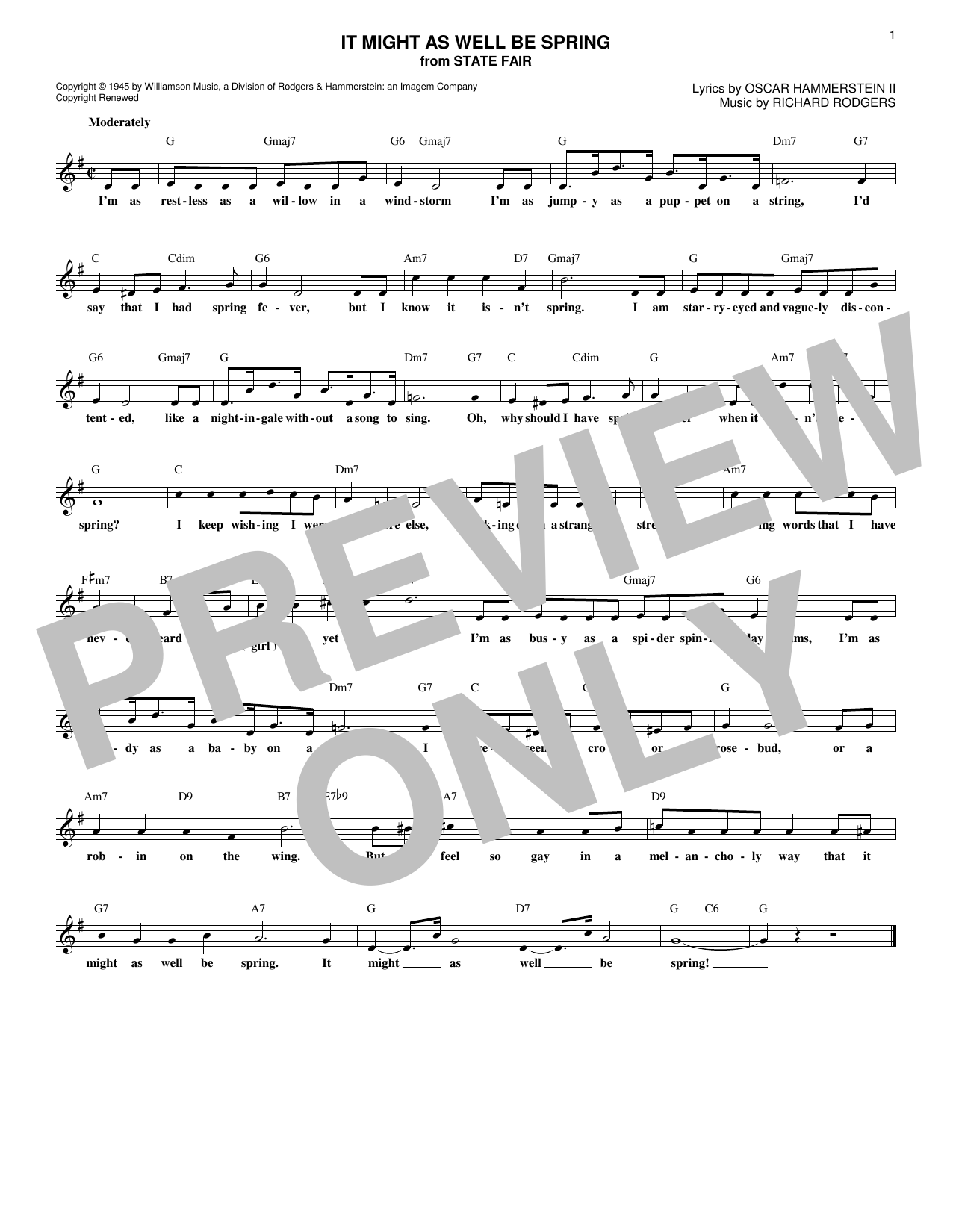 It Might As Well Be Spring (Lead Sheet / Fake Book)