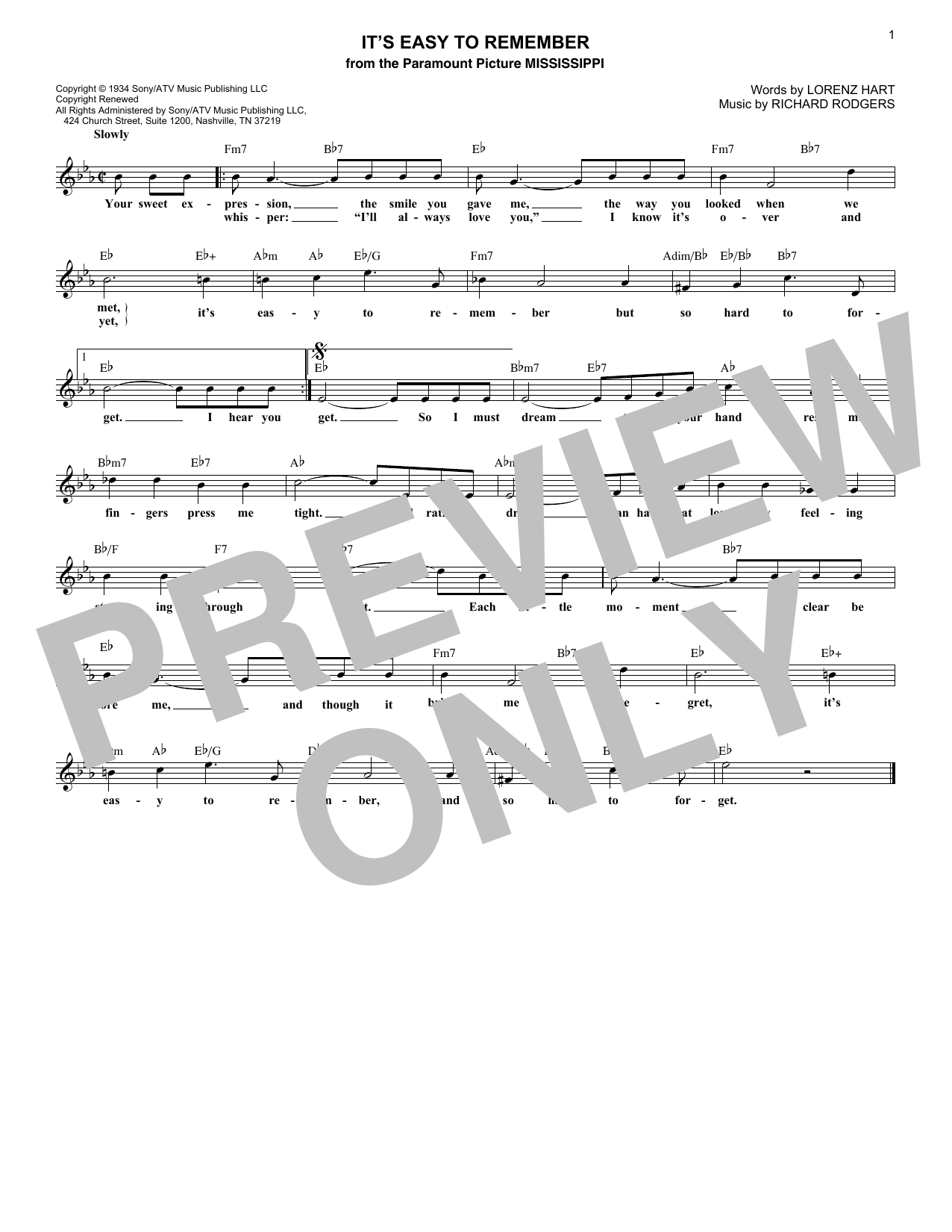 It's Easy To Remember (Lead Sheet / Fake Book)