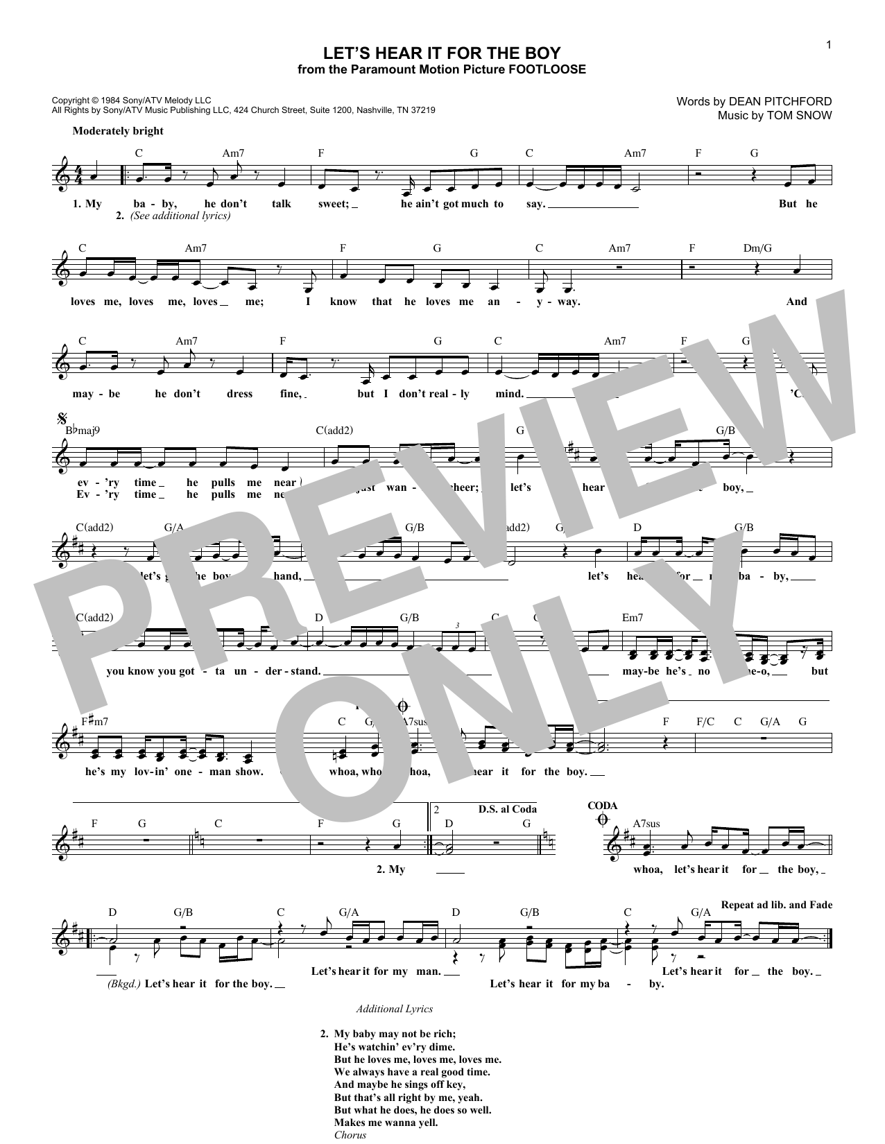 Let's Hear It For The Boy (Lead Sheet / Fake Book)