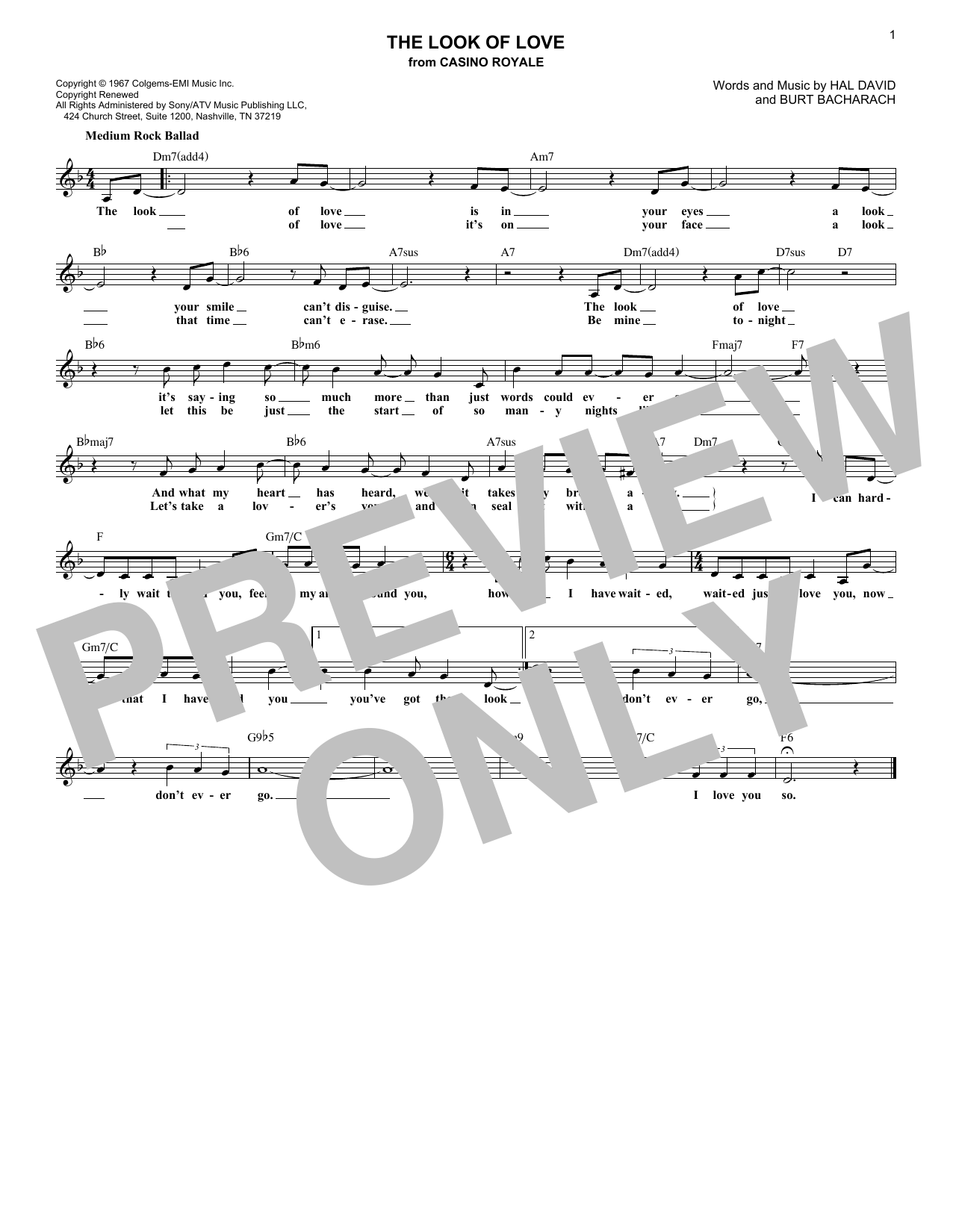 The Look Of Love (Lead Sheet / Fake Book)