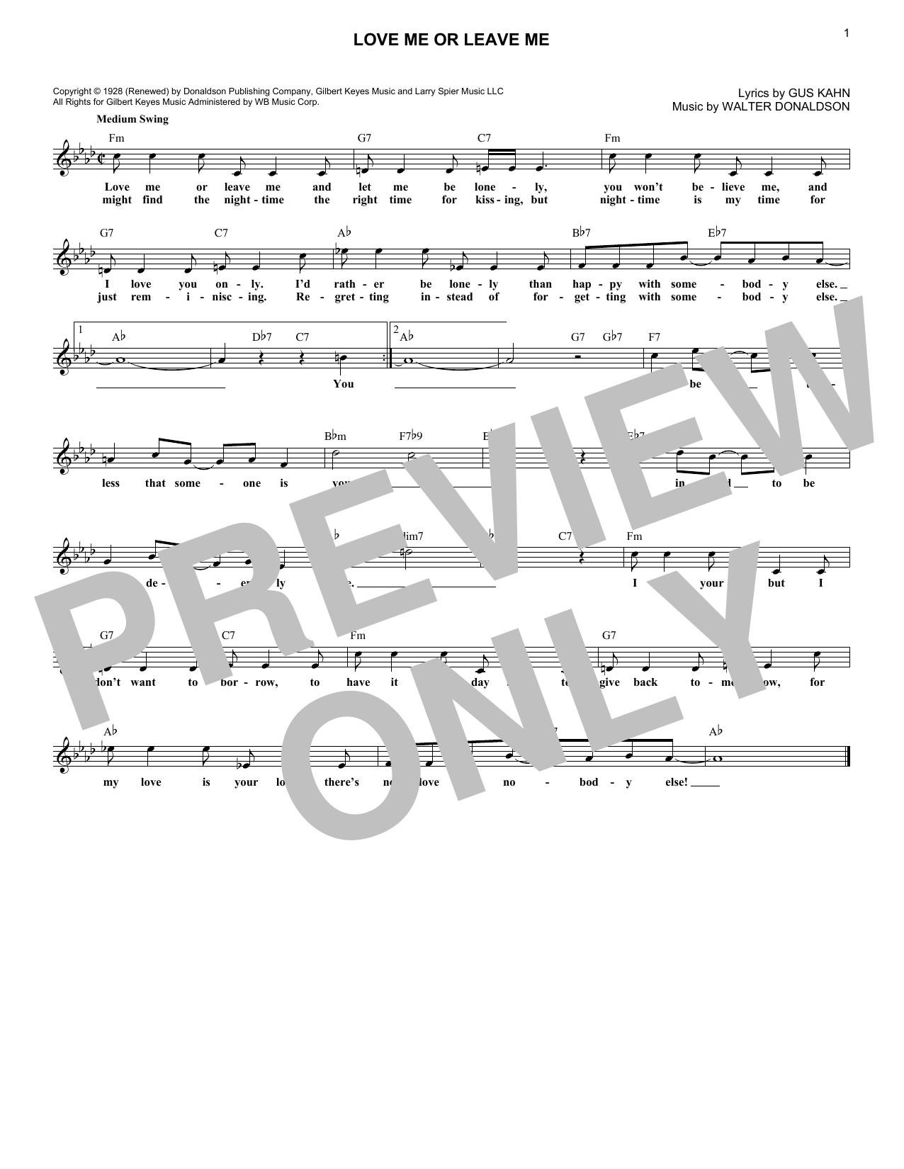 Love Me Or Leave Me (Lead Sheet / Fake Book)