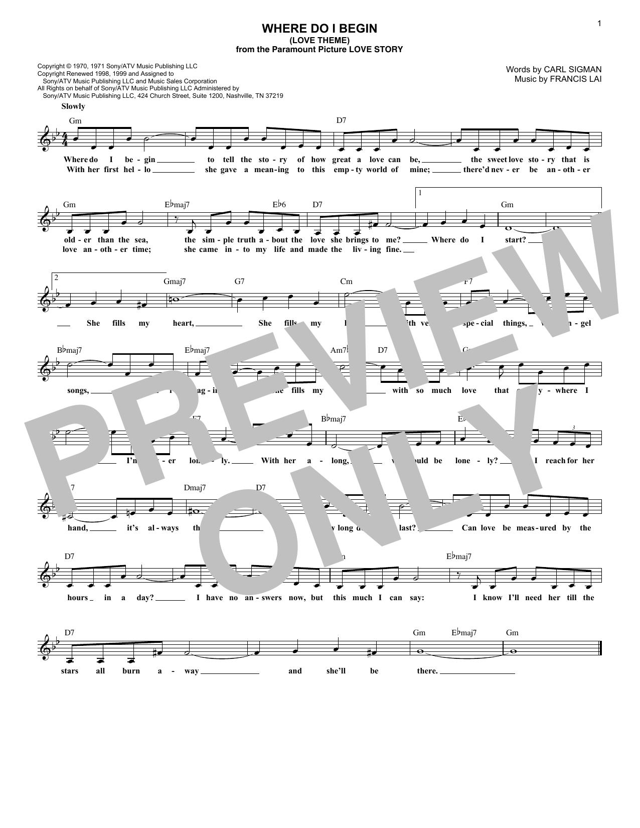 Where Do I Begin (Love Theme) (Lead Sheet / Fake Book)