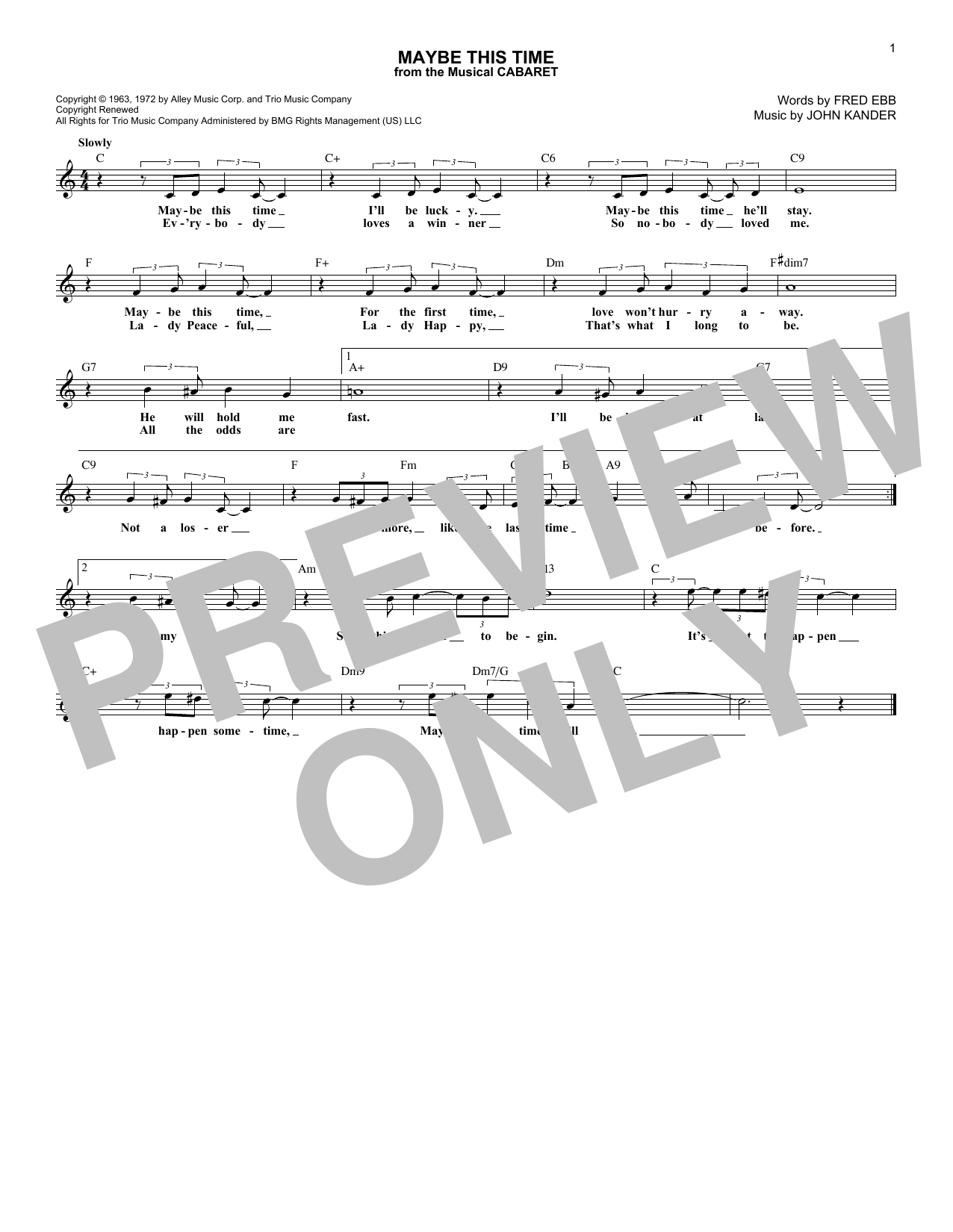 Maybe This Time (from Cabaret) (Lead Sheet / Fake Book)