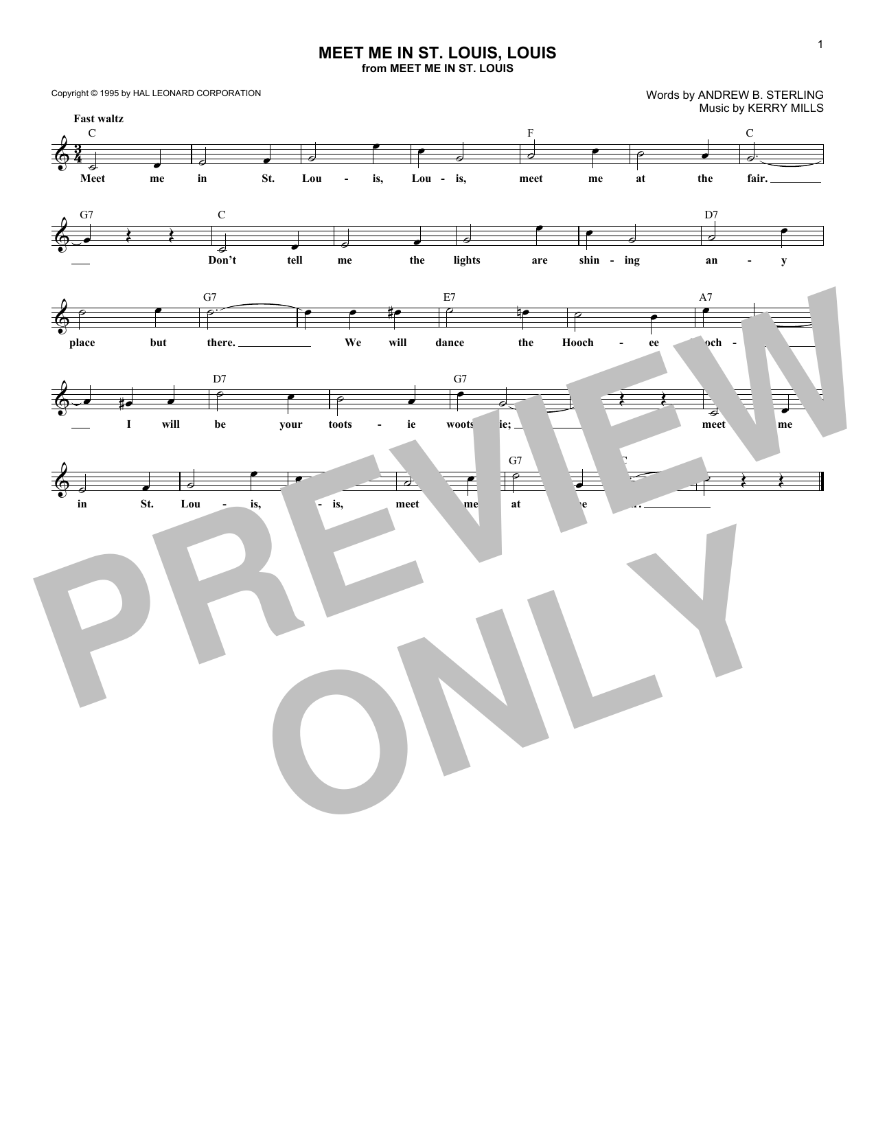 Meet Me In St. Louis, Louis Sheet Music