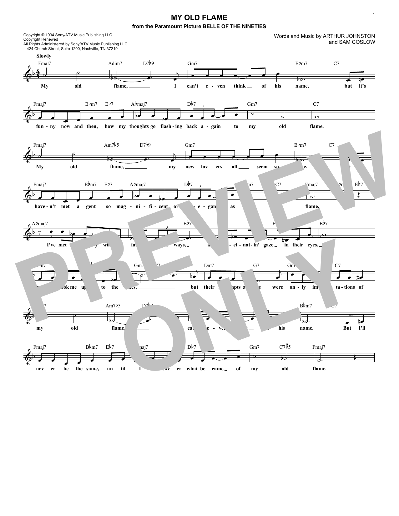 My Old Flame (Lead Sheet / Fake Book)