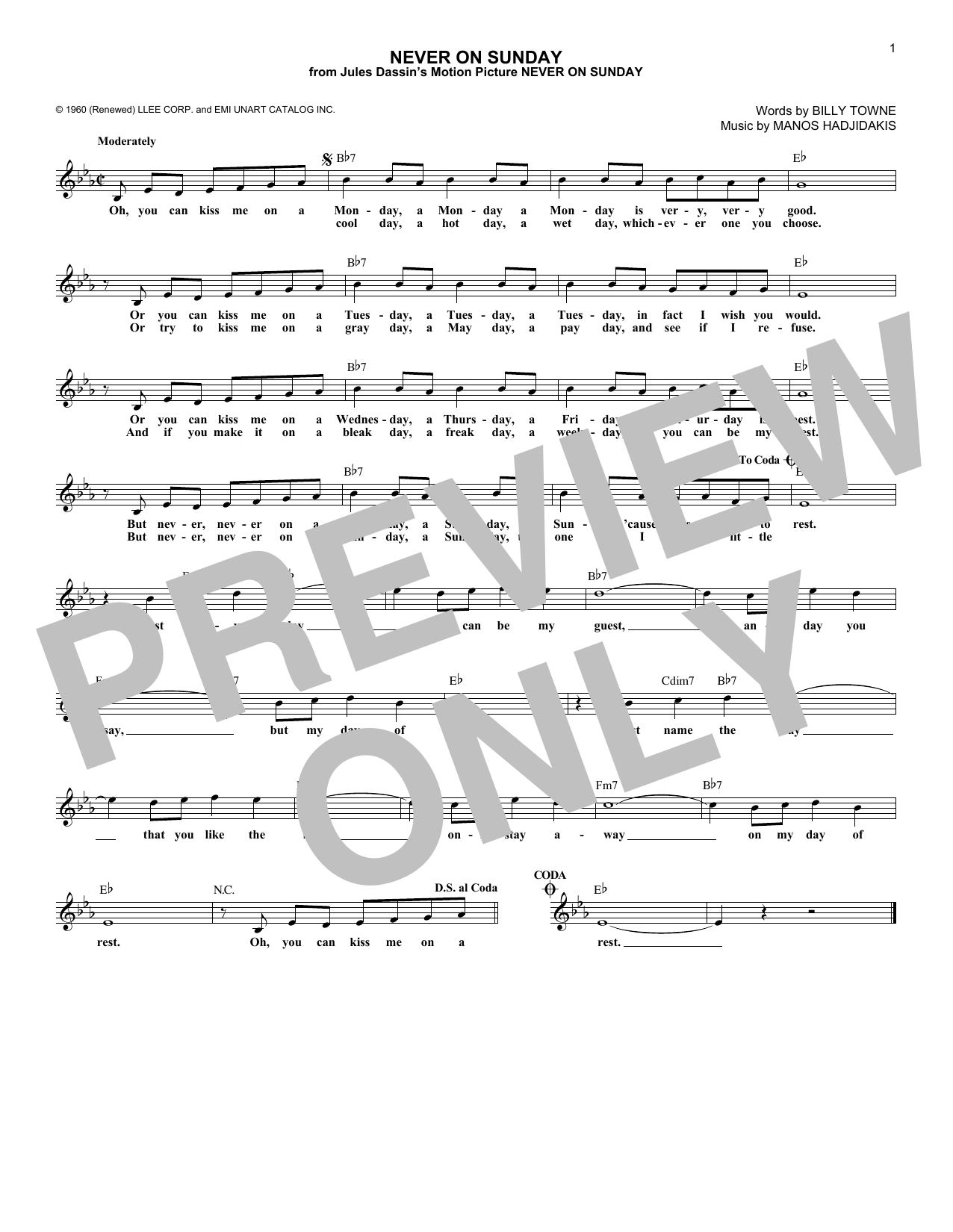 Never On Sunday (Lead Sheet / Fake Book)