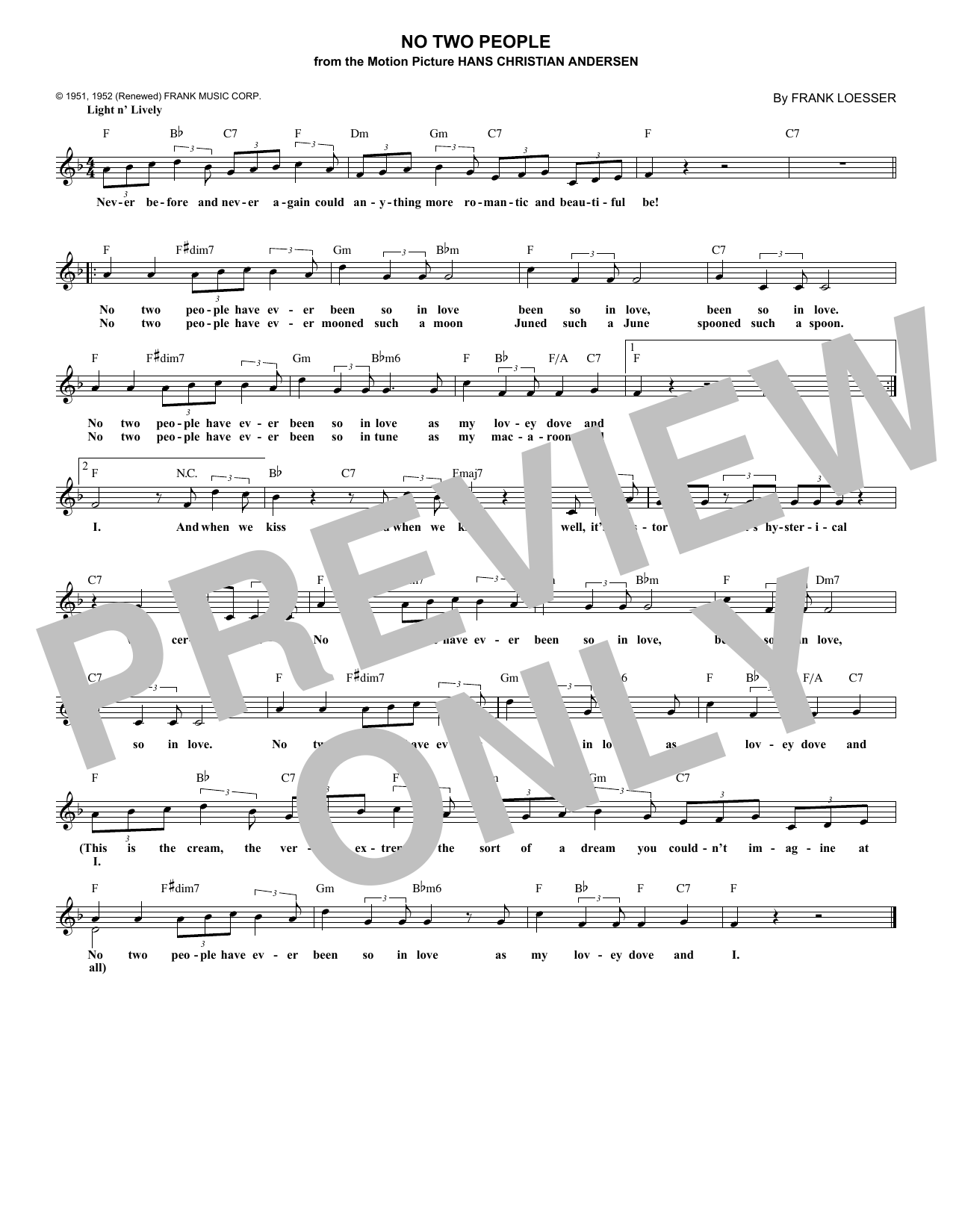 No Two People (Lead Sheet / Fake Book)
