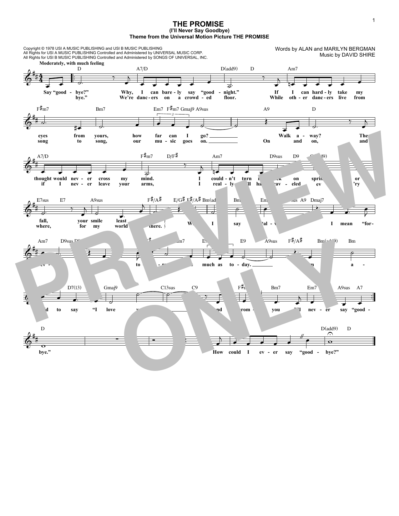 The Promise (I'll Never Say Goodbye) (Lead Sheet / Fake Book)