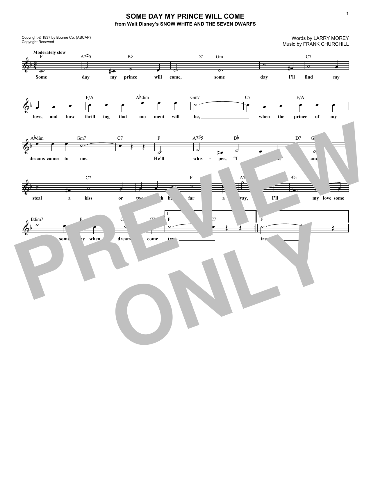 Some Day My Prince Will Come (Lead Sheet / Fake Book)