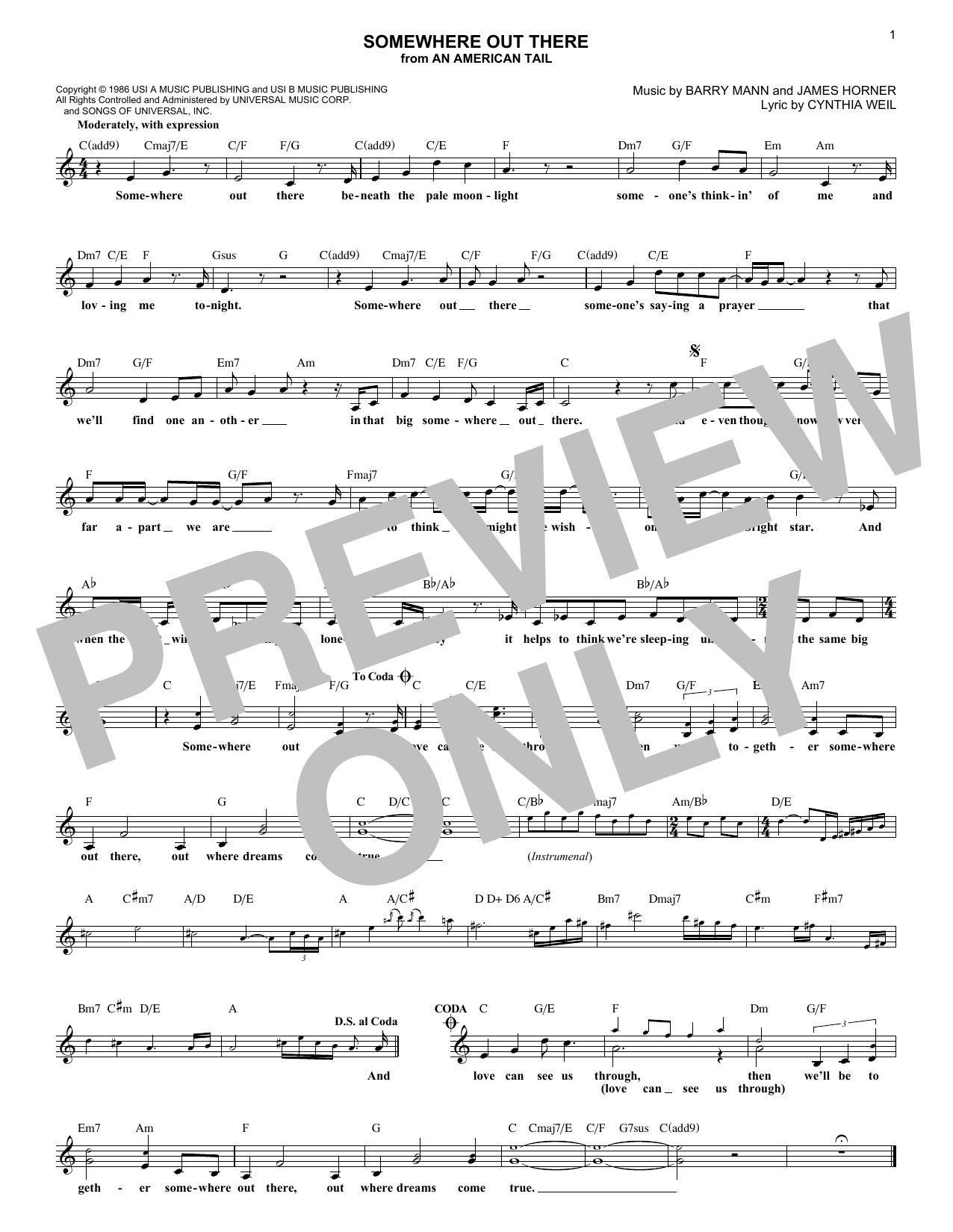 Somewhere Out There (Lead Sheet / Fake Book)