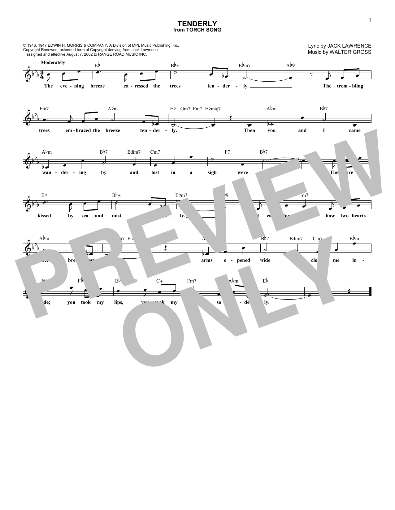 Tenderly (Lead Sheet / Fake Book)