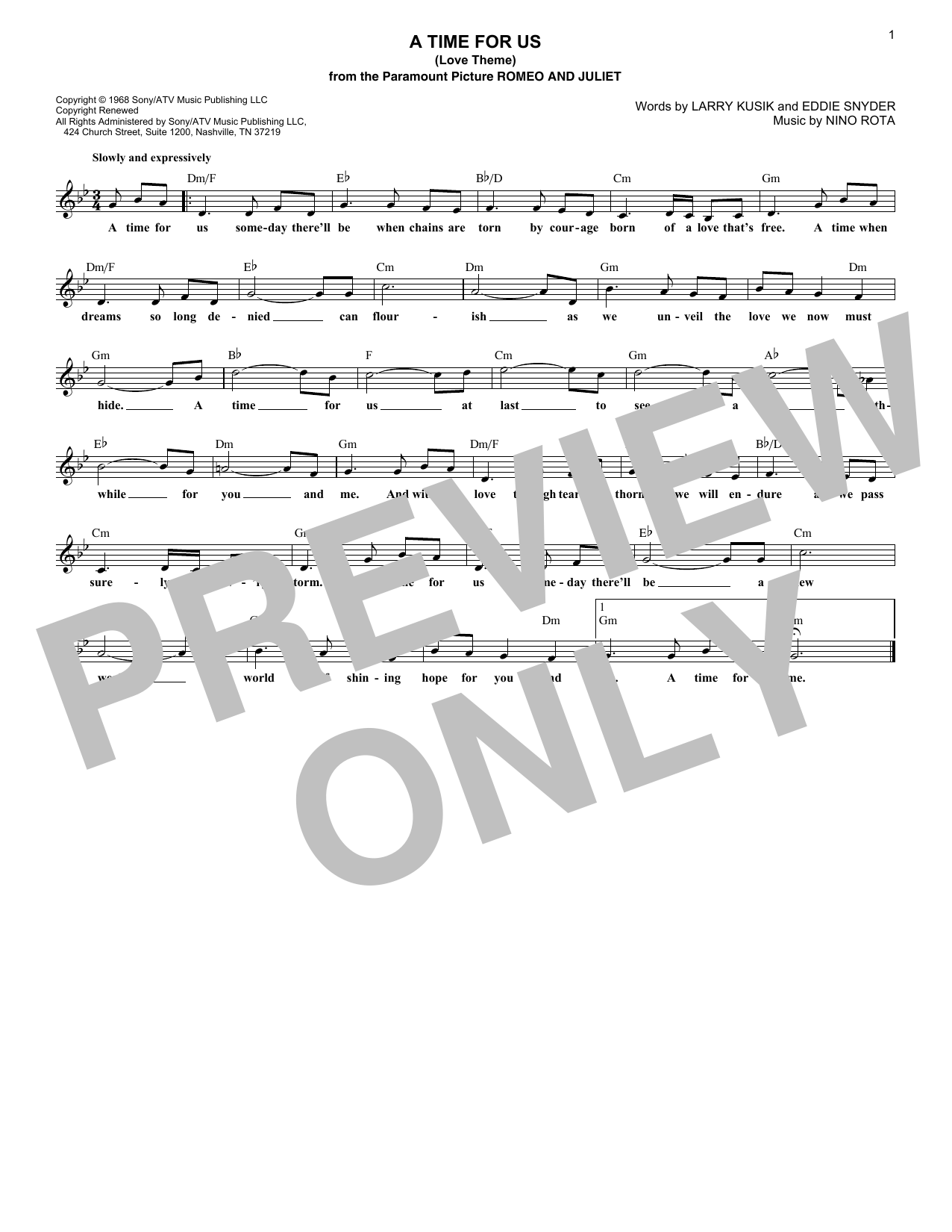 A Time For Us (Love Theme) (Lead Sheet / Fake Book)
