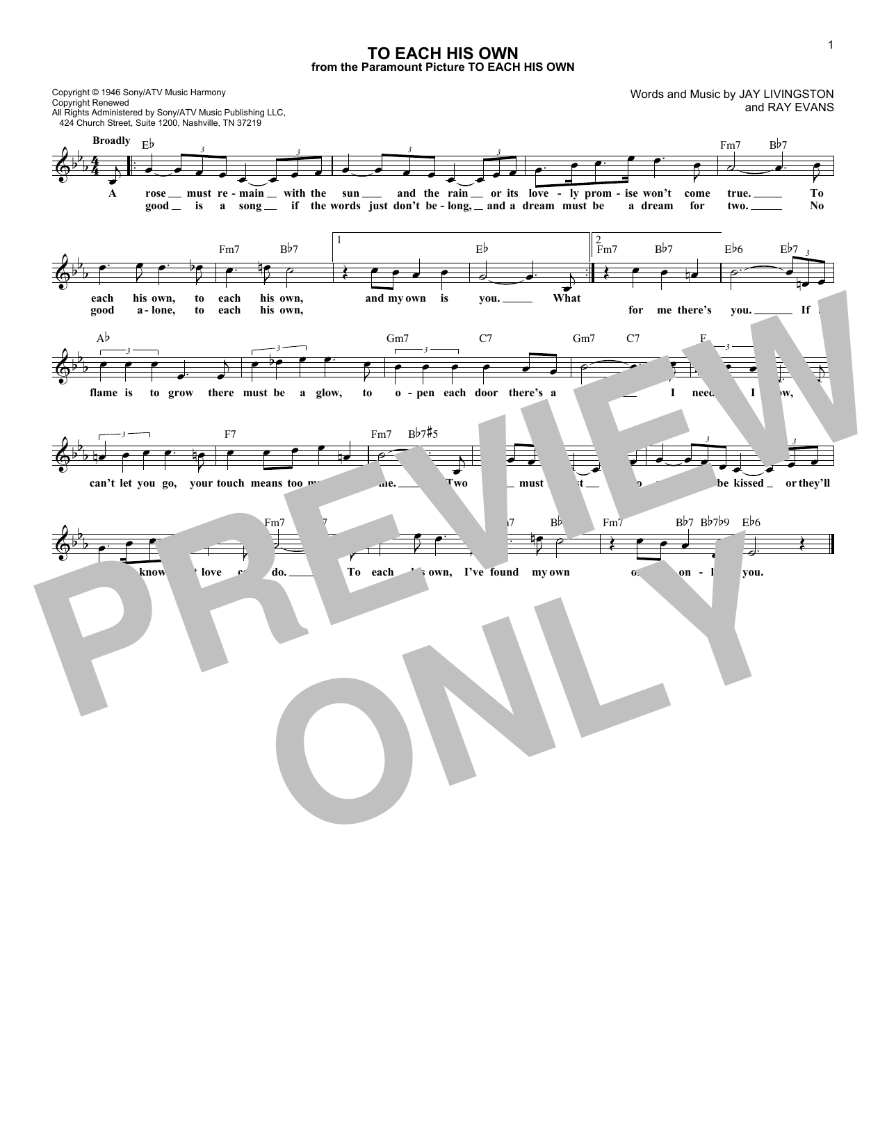 To Each His Own (Lead Sheet / Fake Book)