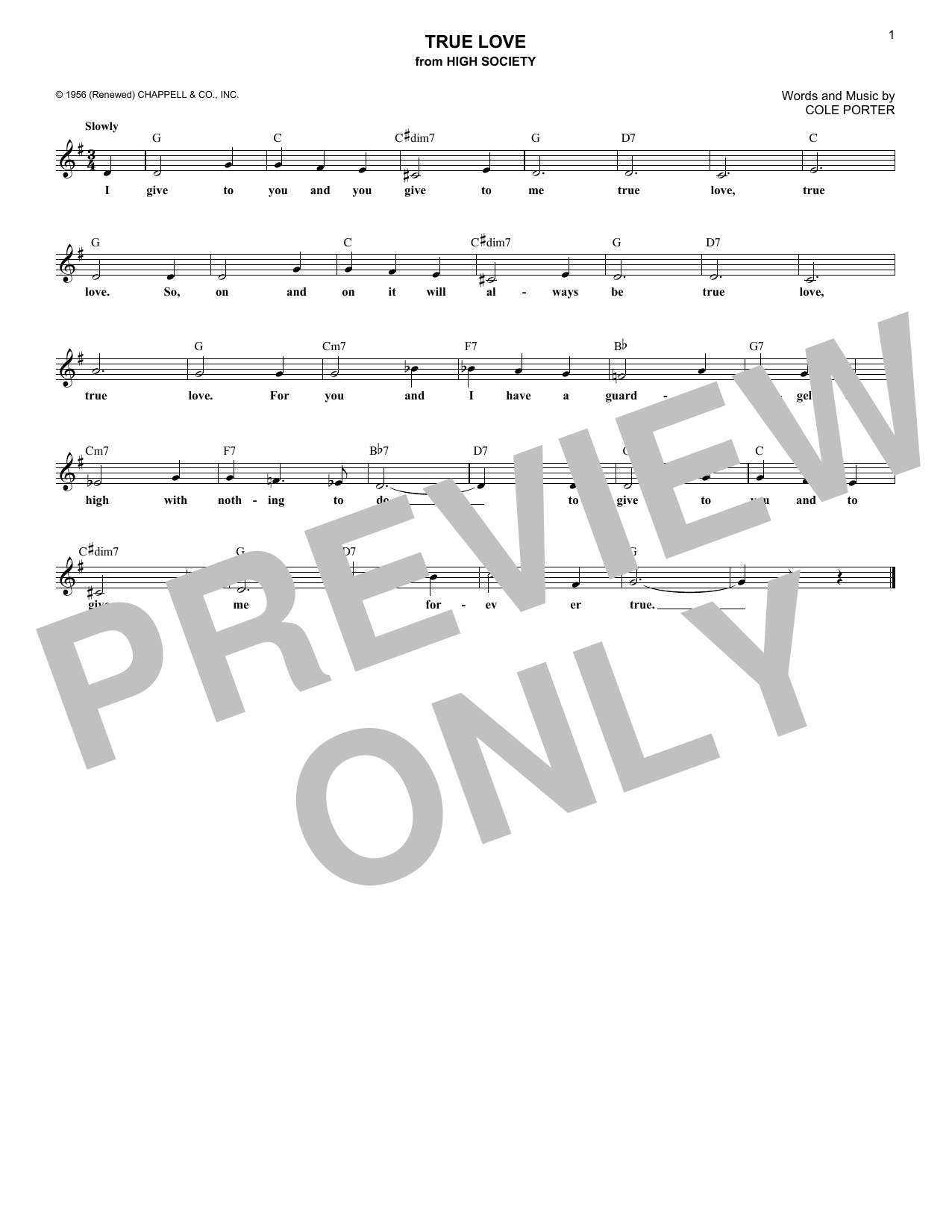 True Love (from High Society) (Lead Sheet / Fake Book)