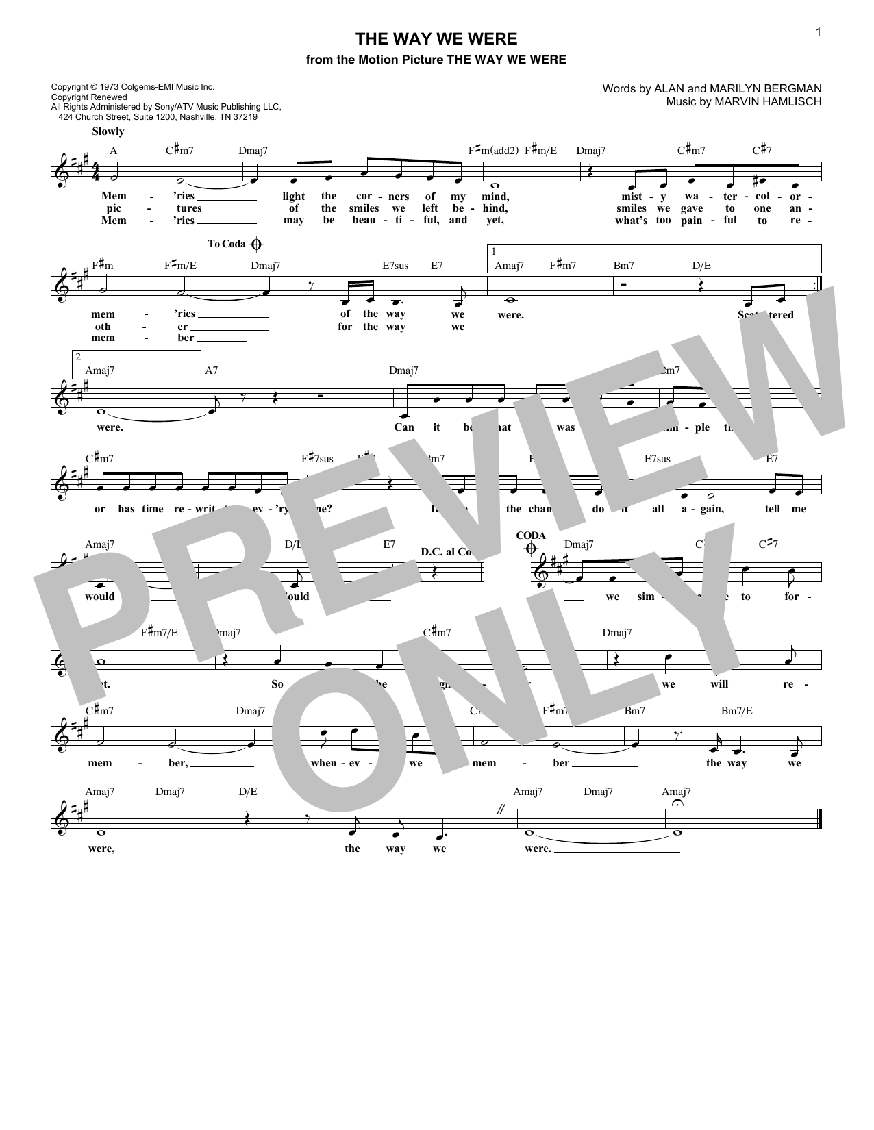 The Way We Were (Lead Sheet / Fake Book)